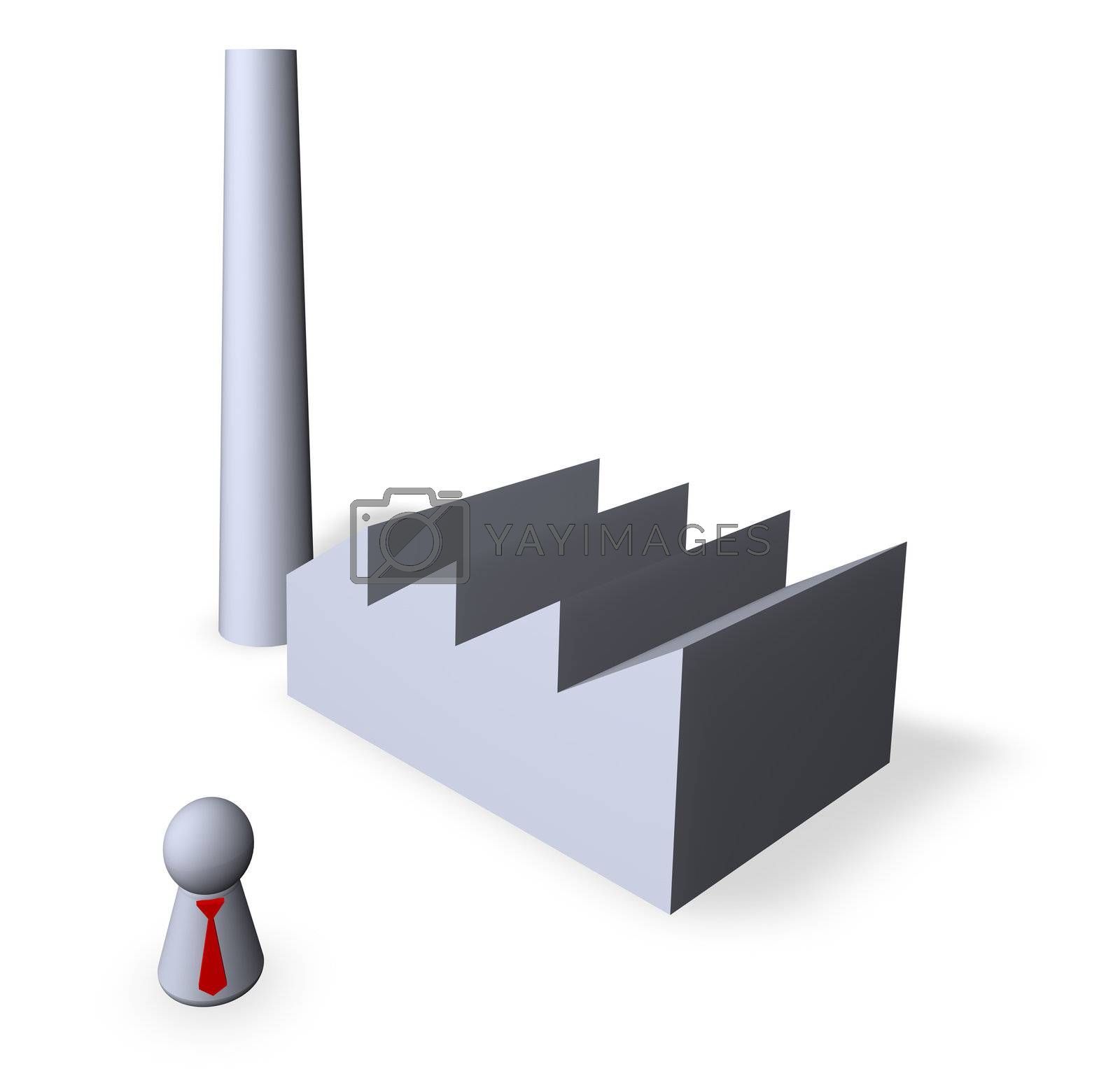 play figure with nred tie and factory buildings