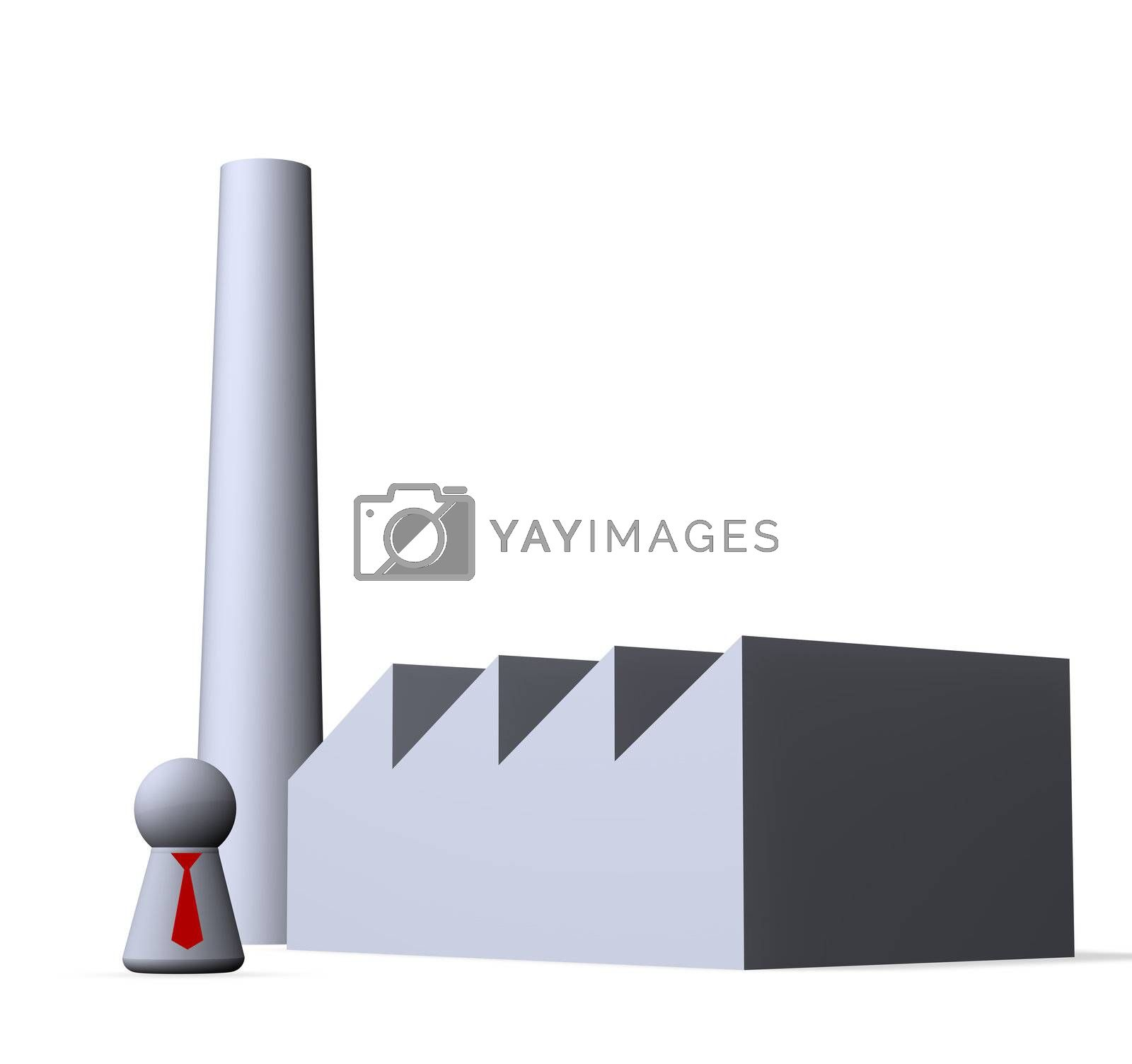 play figure businessman with red tie and factory buildings