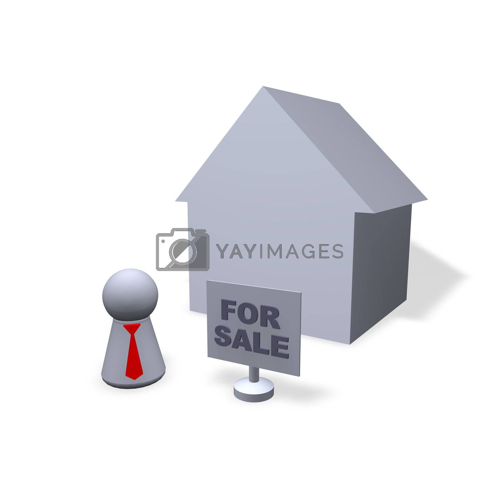 play figure broker with red tie, a house and for sale sign