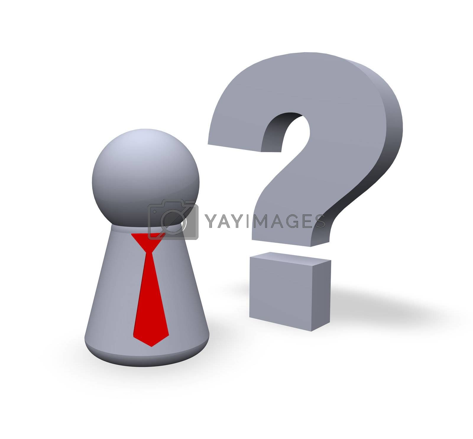 play figure with red tie and question mark in 3d