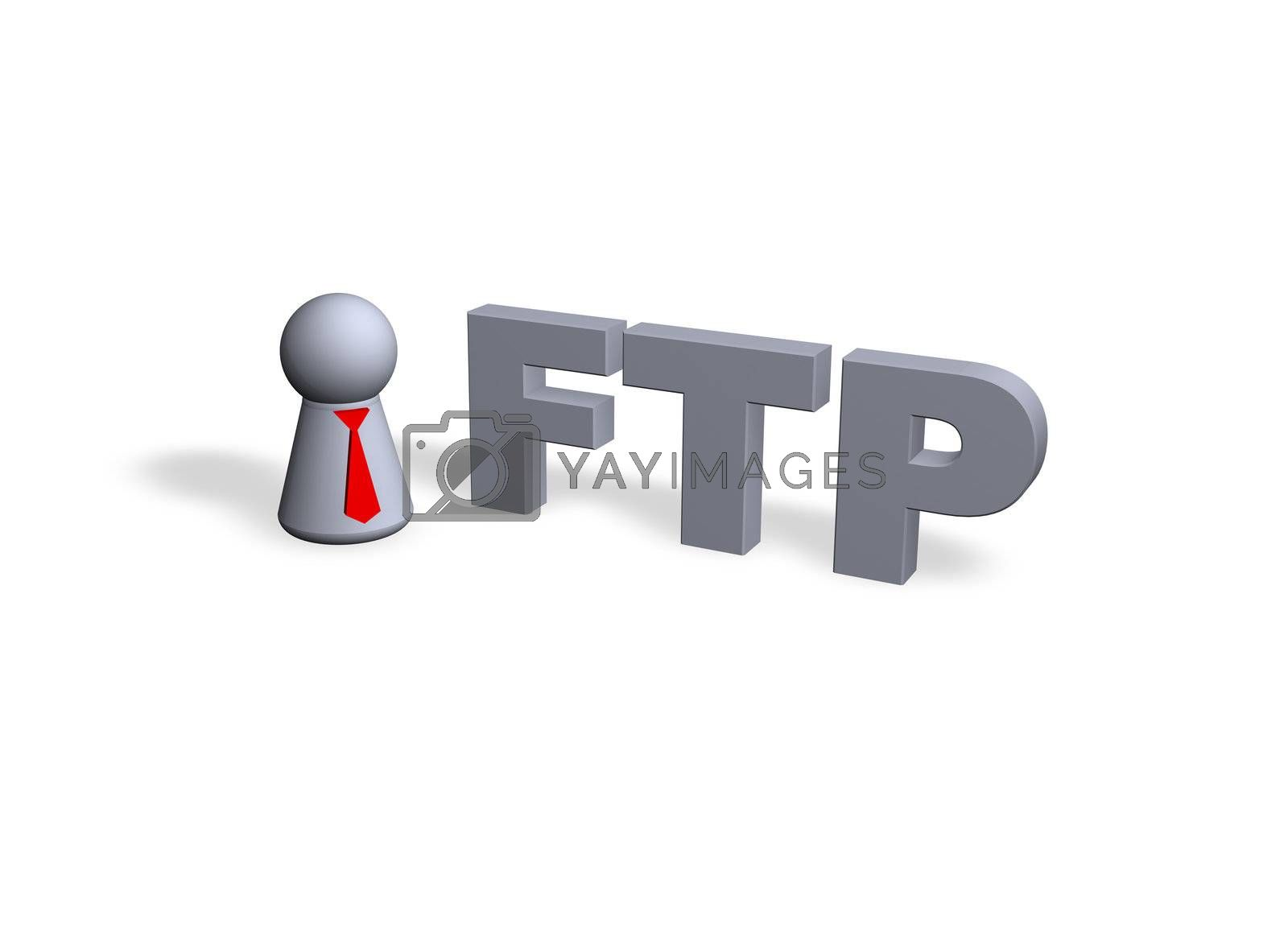 play figure with red tie and ftp text in 3d