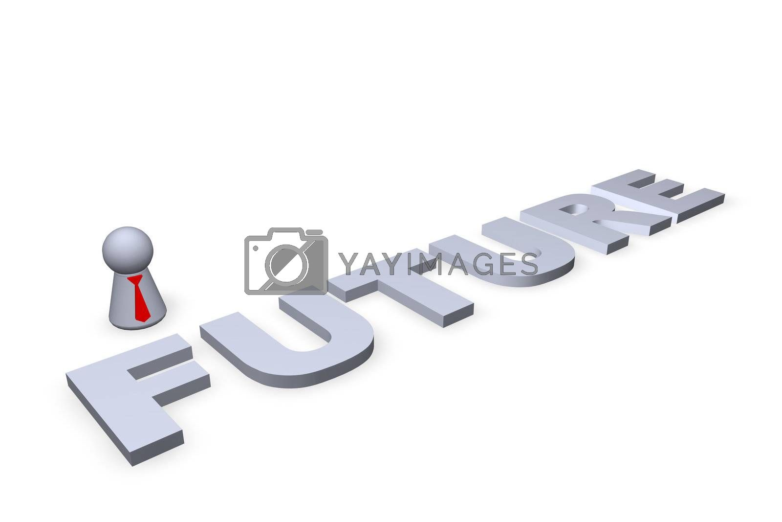 future text in 3d and play figure with red tie