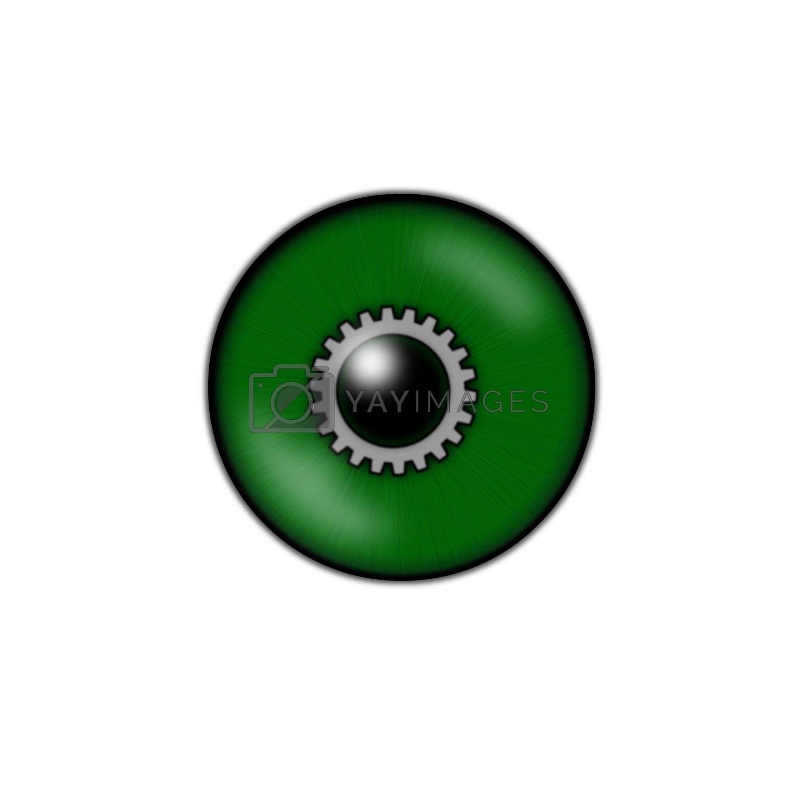 green eyeball with gear wheel