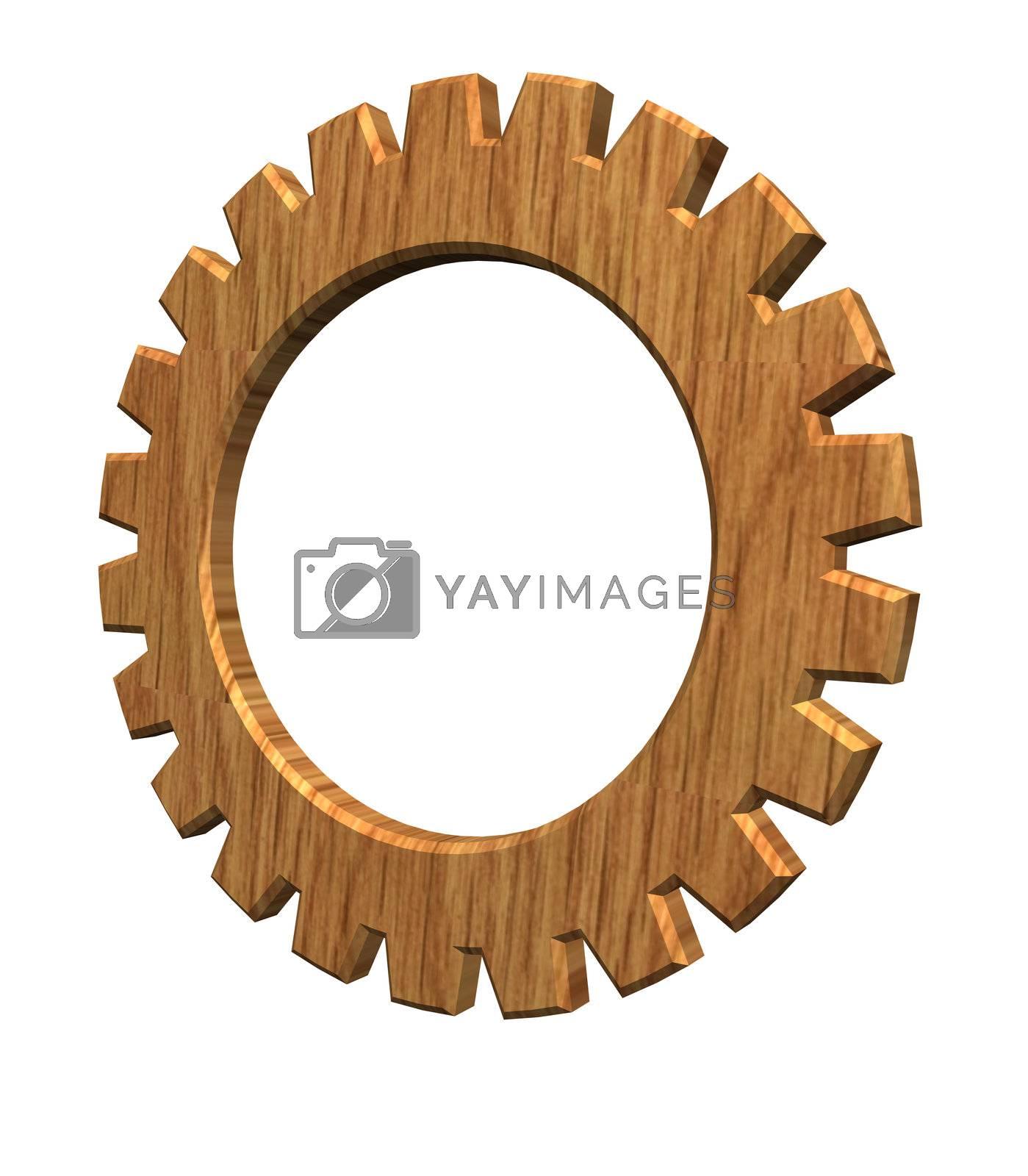 3d gear wheel wooden