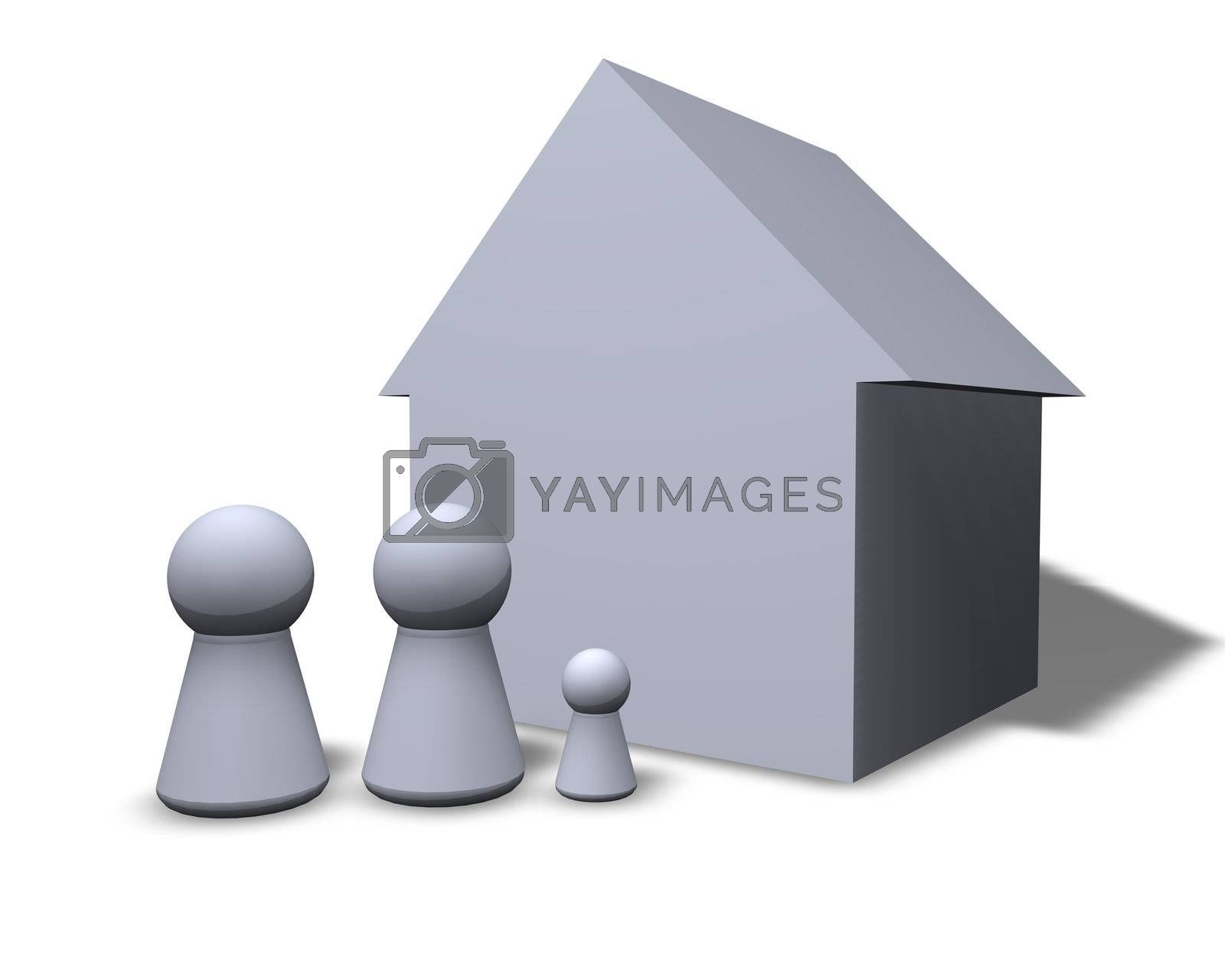 play figures family and their house