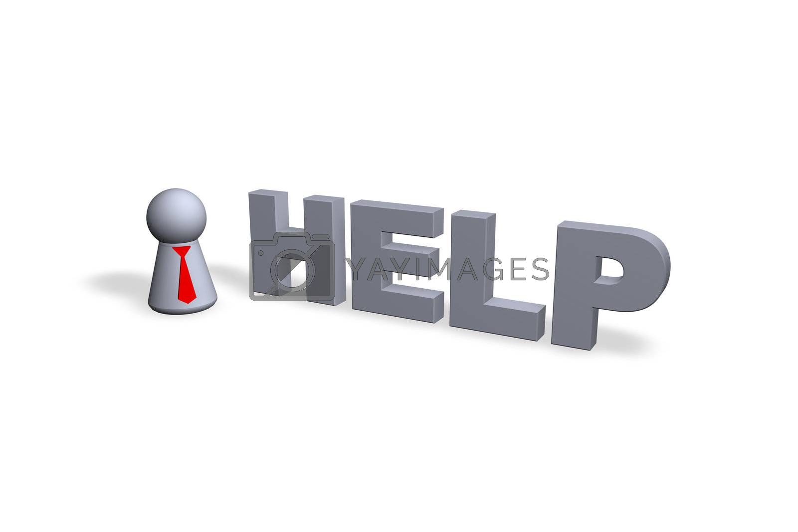 help text in 3d and play figure with red tie