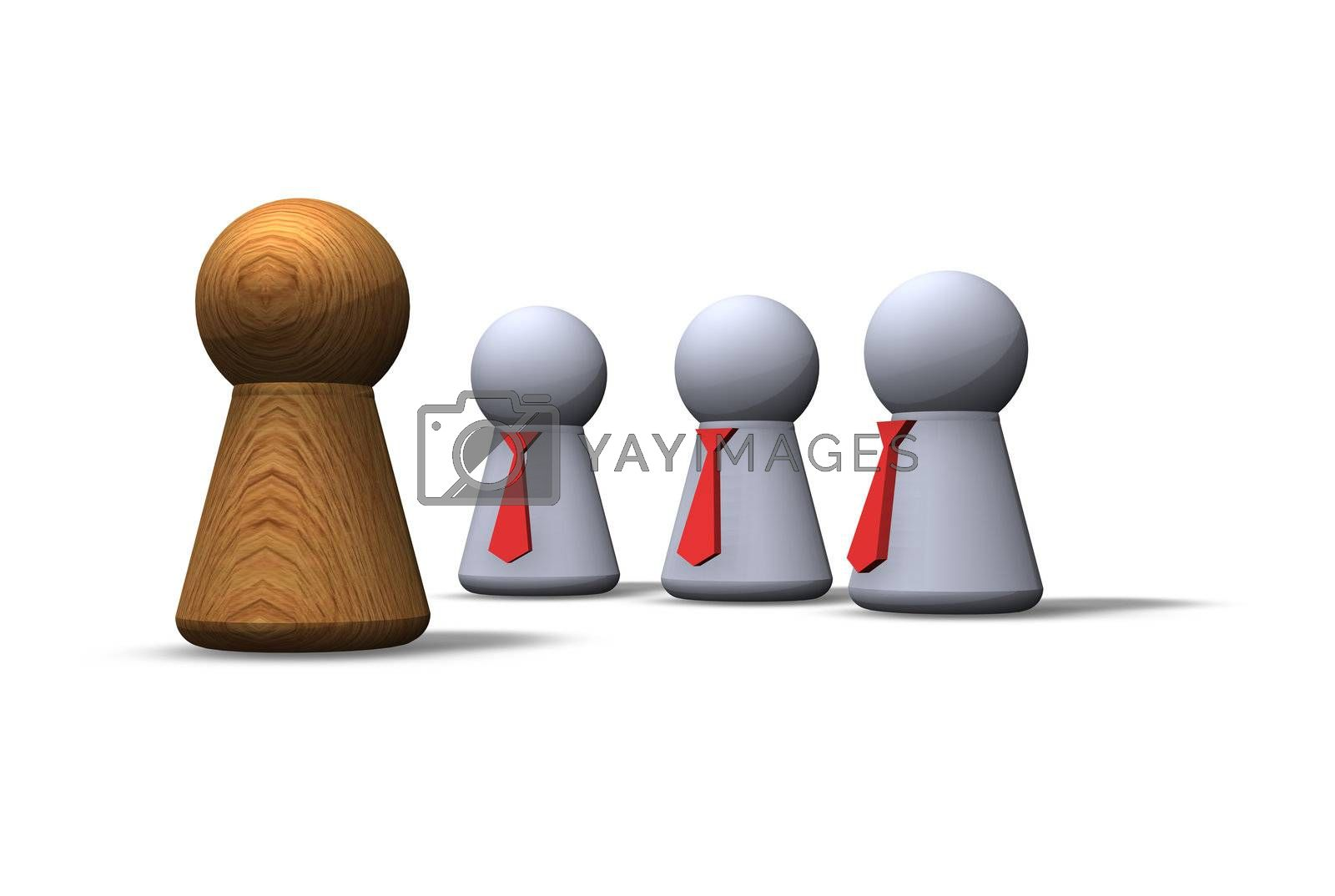 play figures - wooden and with red tie
