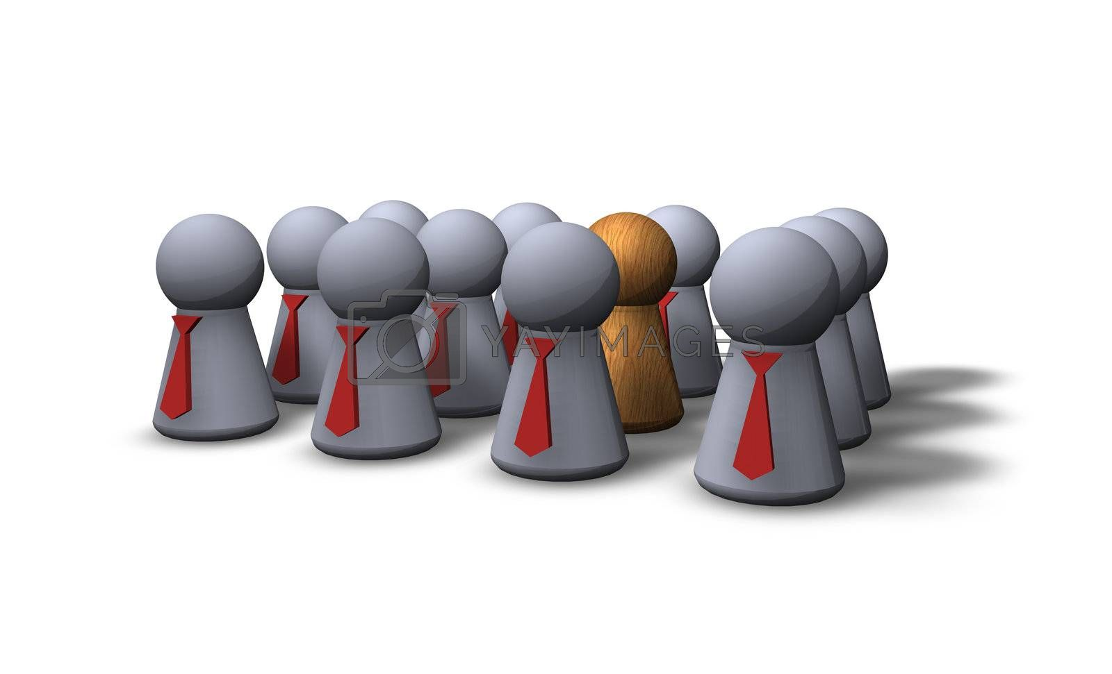 play figures businessmen with red tie and one wooden