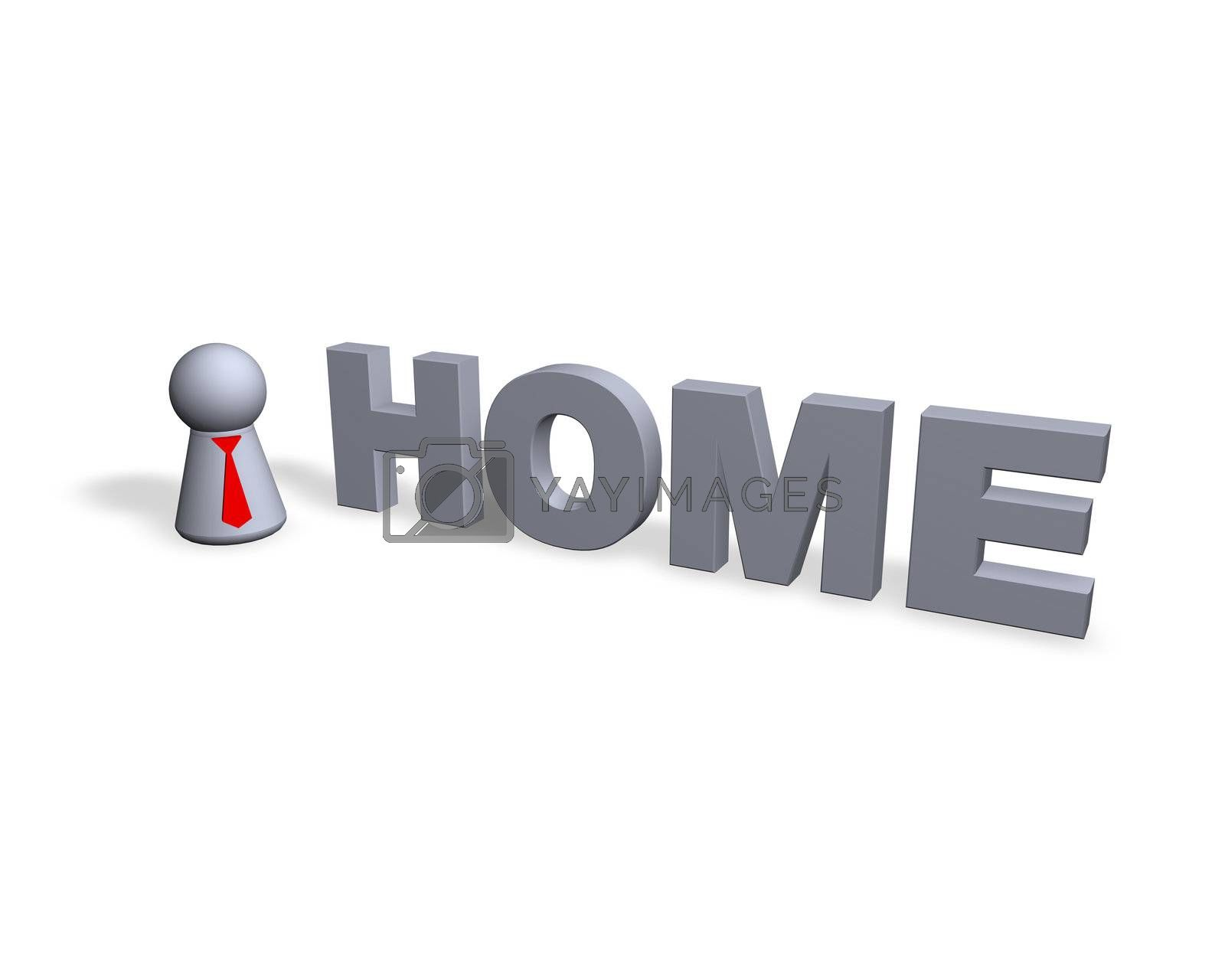 home text in 3d and play figure with red tie