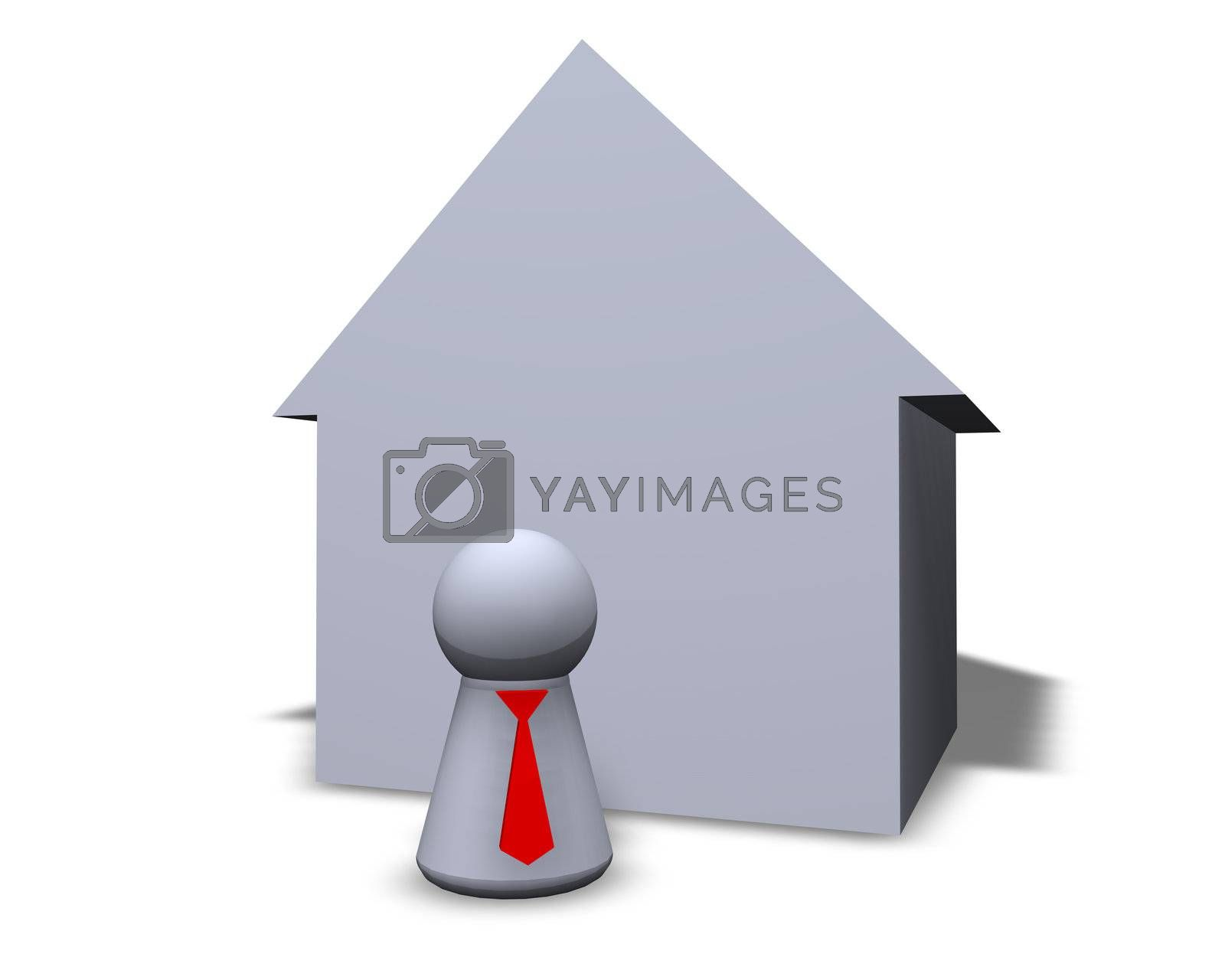 play figure with red tie and house