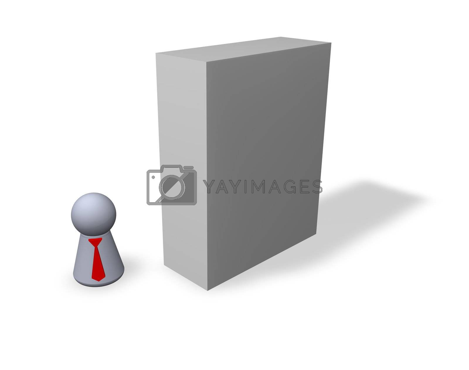 play figure businessman with red tie and blank software packing