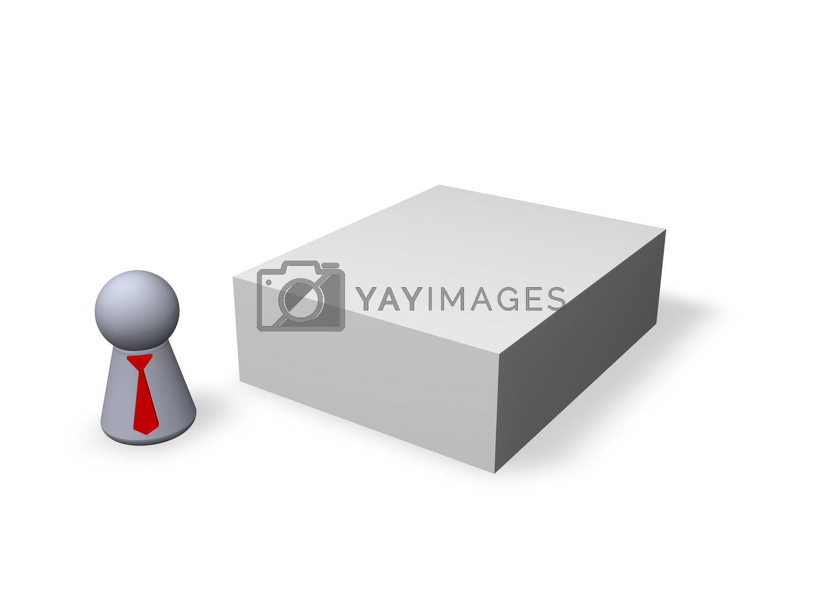 play figure with red tie and blank packing