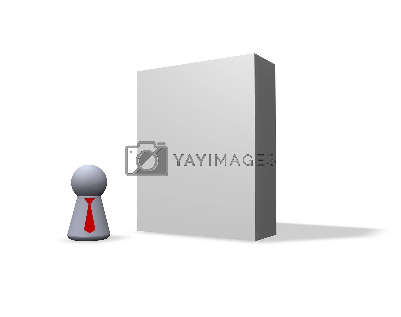 blank software packing and play figure with red tie