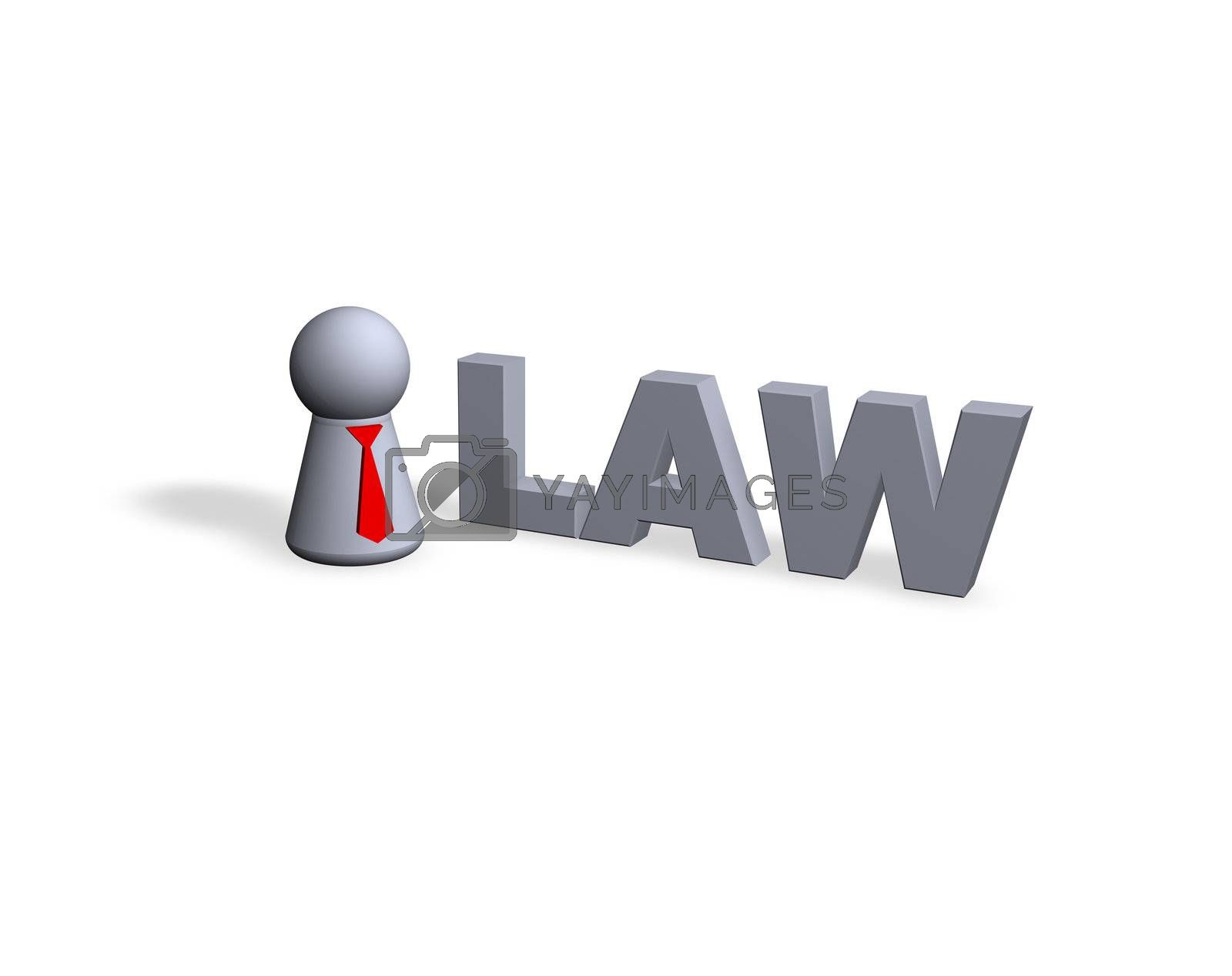 law text in 3d and play figure with red tie