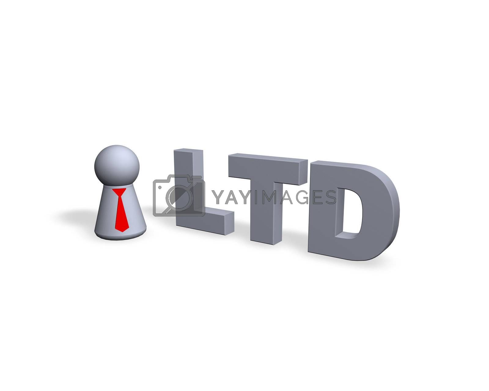 play figure with red tie and ltd text in 3d