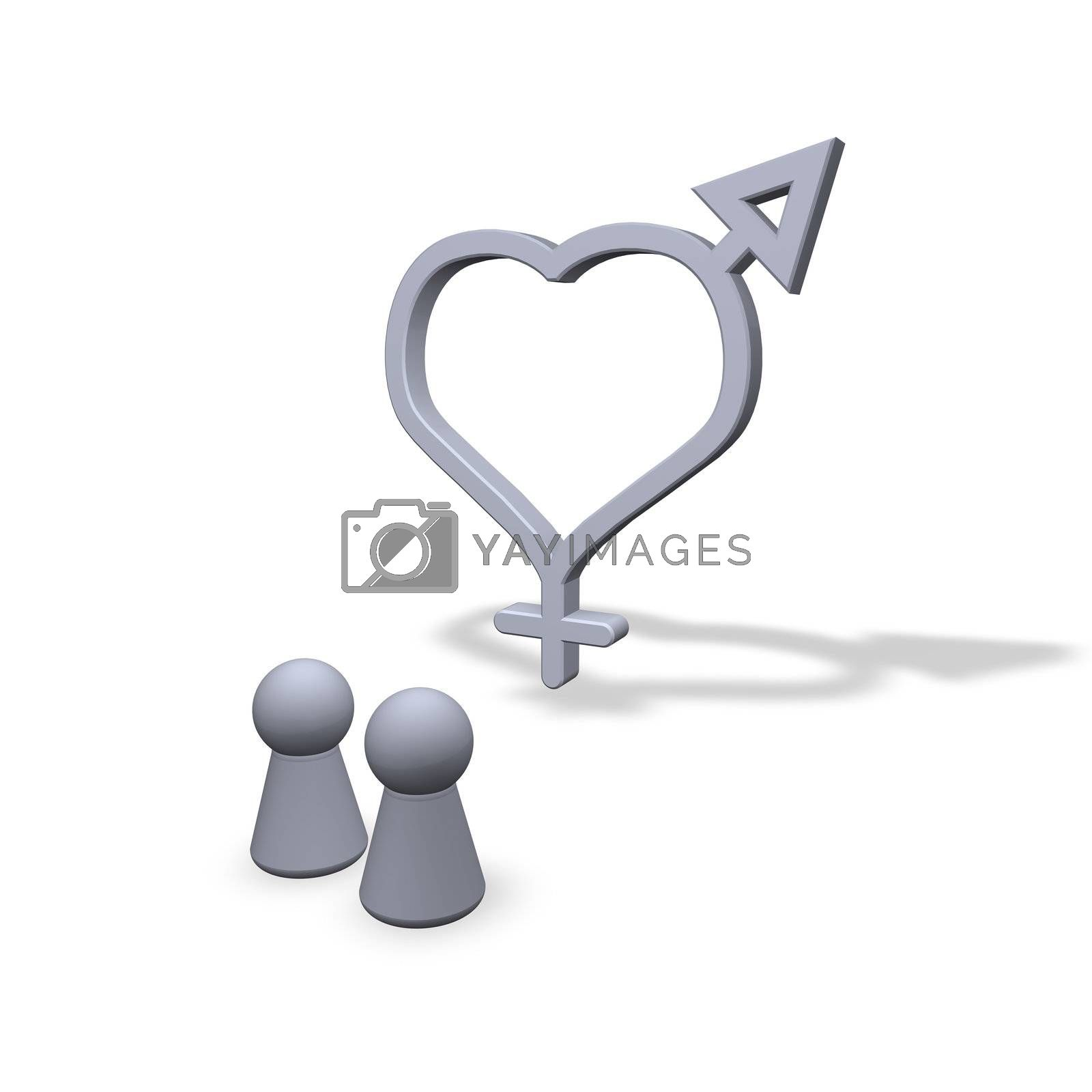 play figures and symbols male female at heart