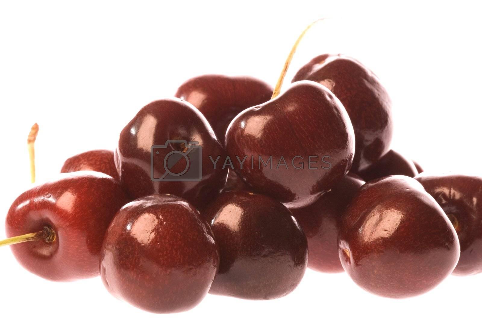 Isolated macro image of fresh cherries.