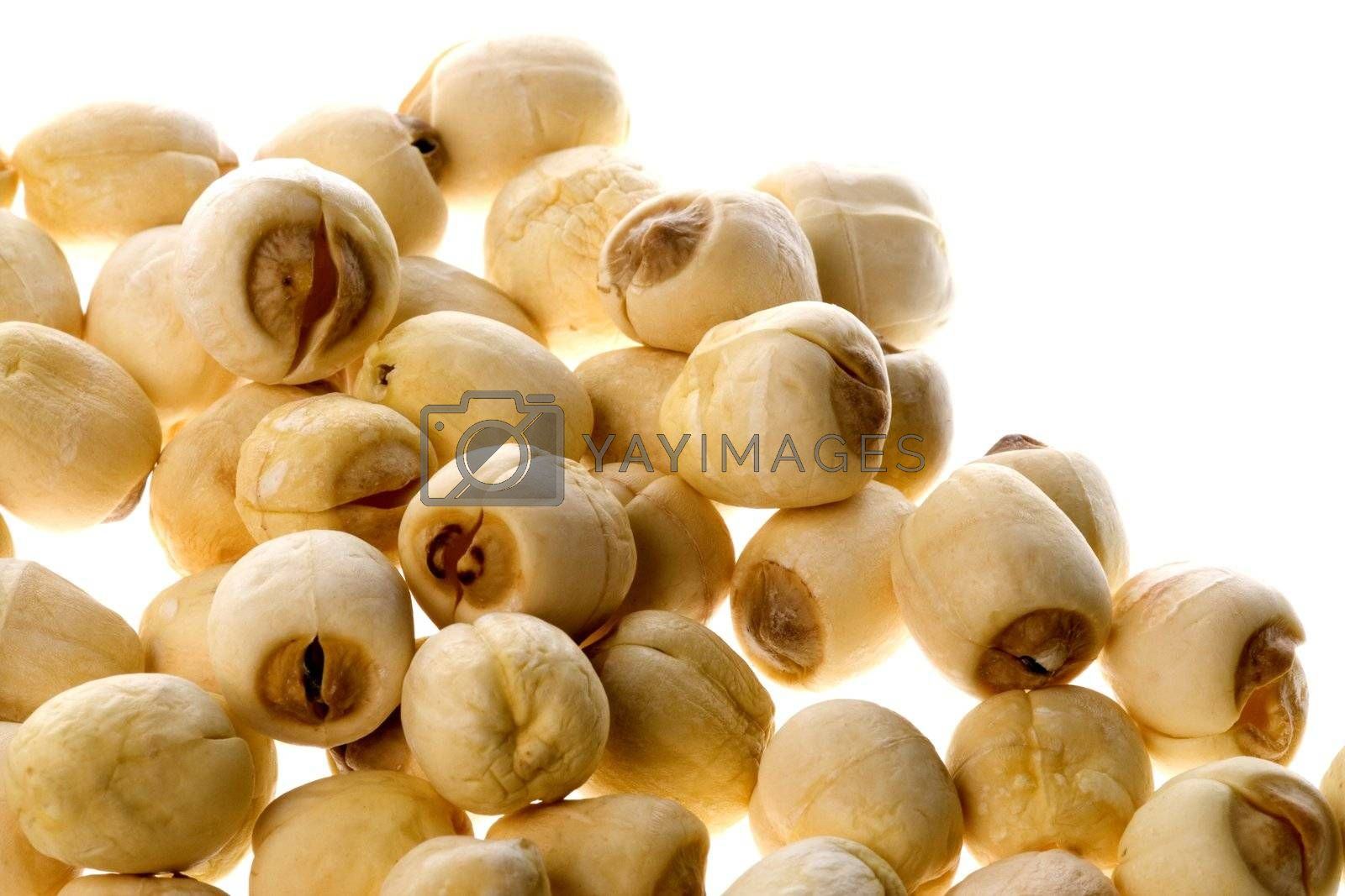 Isolated macro image of a lotus seeds.
