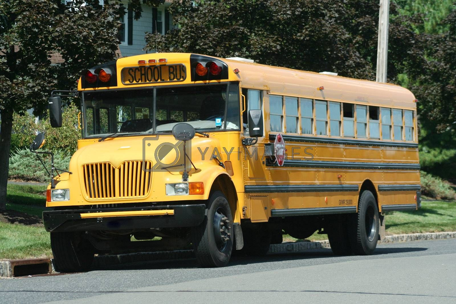 A Yellow Schoolbus parked on the street