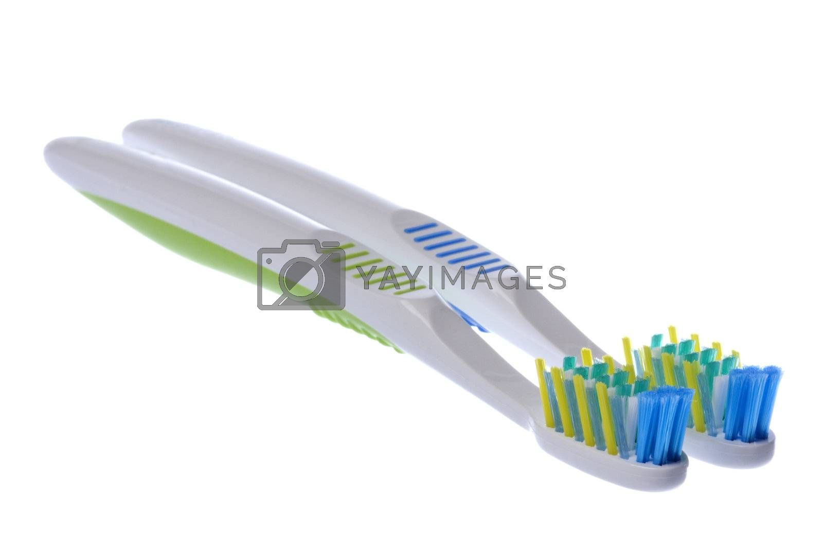 Isolated macro image of toothbrushes.
