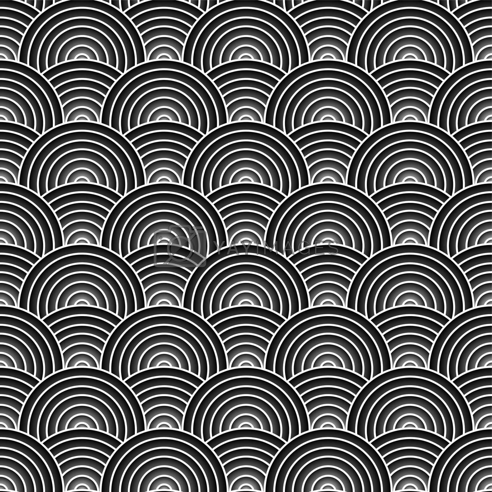 Black and white circular design that seamlessly repeats