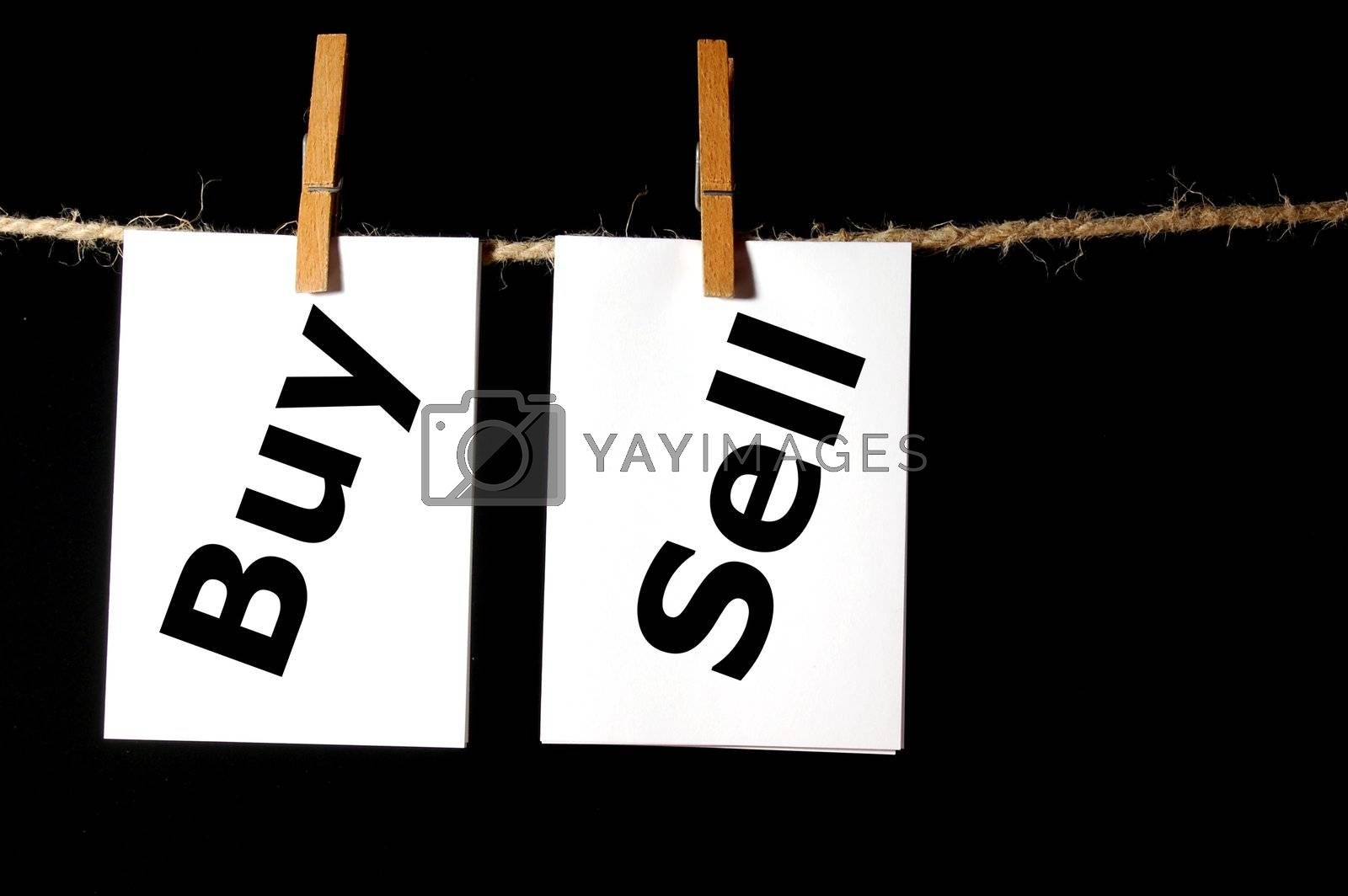 business concept with paper word and clothes line