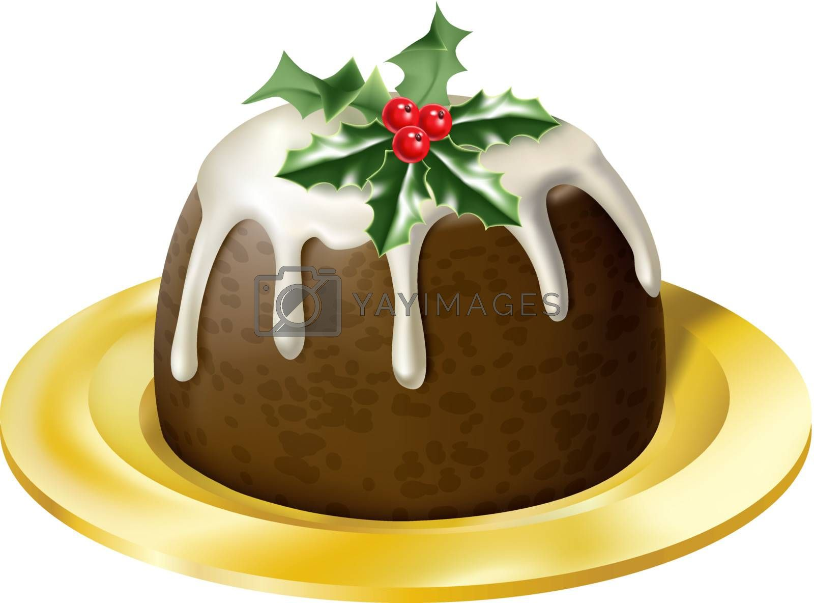 an illustration of a yummy glossy christmas pudding on a plate