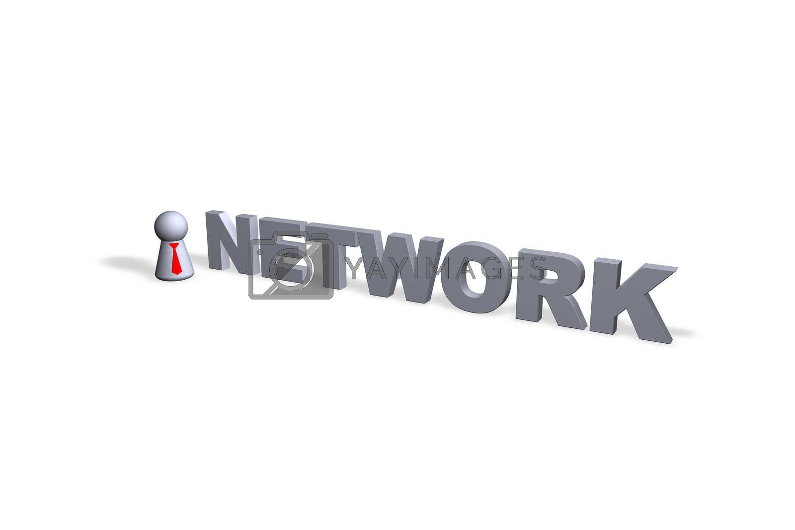 network text in 3d and play figure with red tie