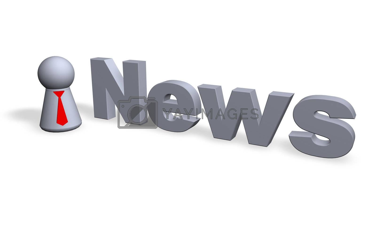 news text in 3d and play figure with red tie