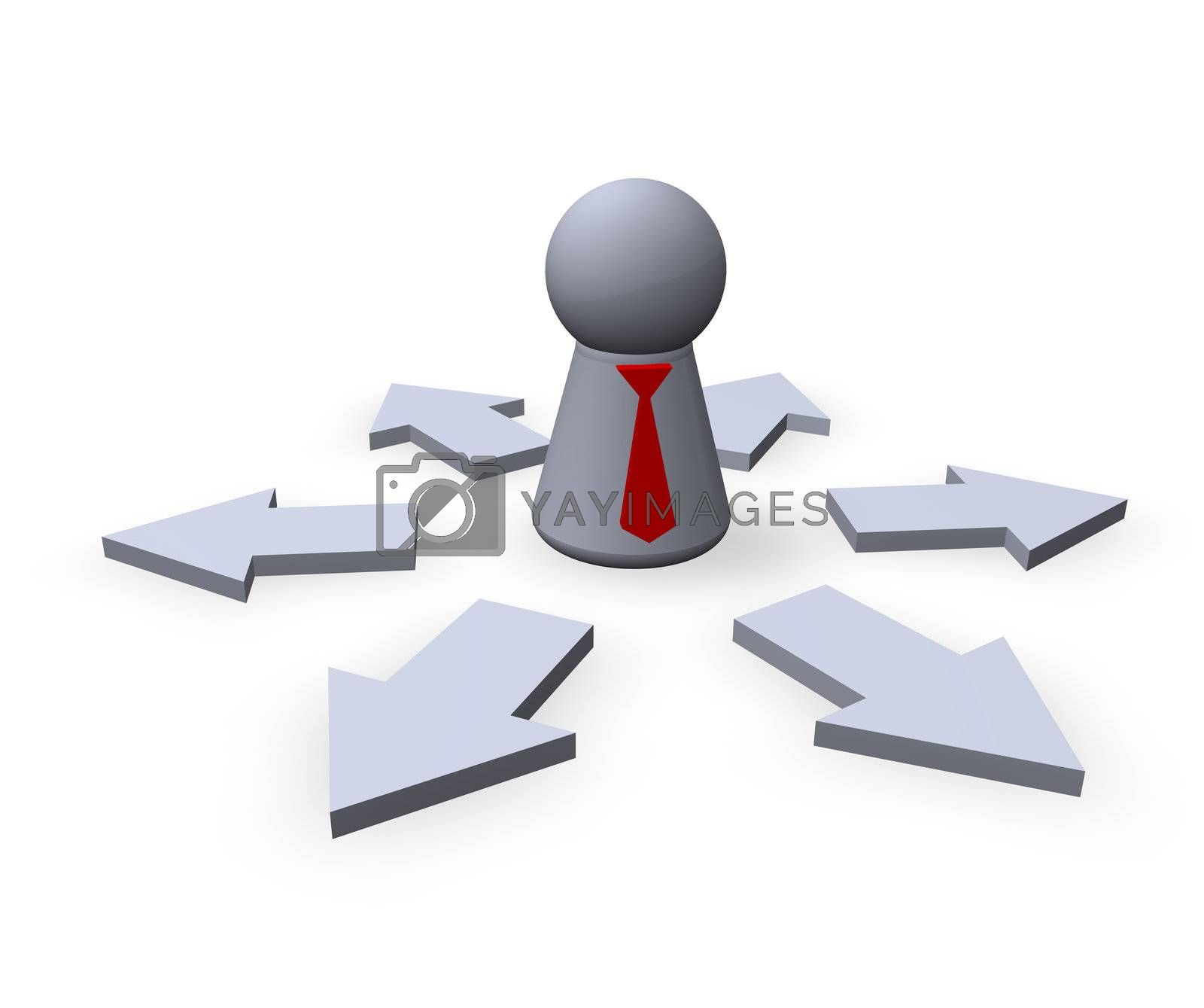 play figure businessman with red tie and pointers