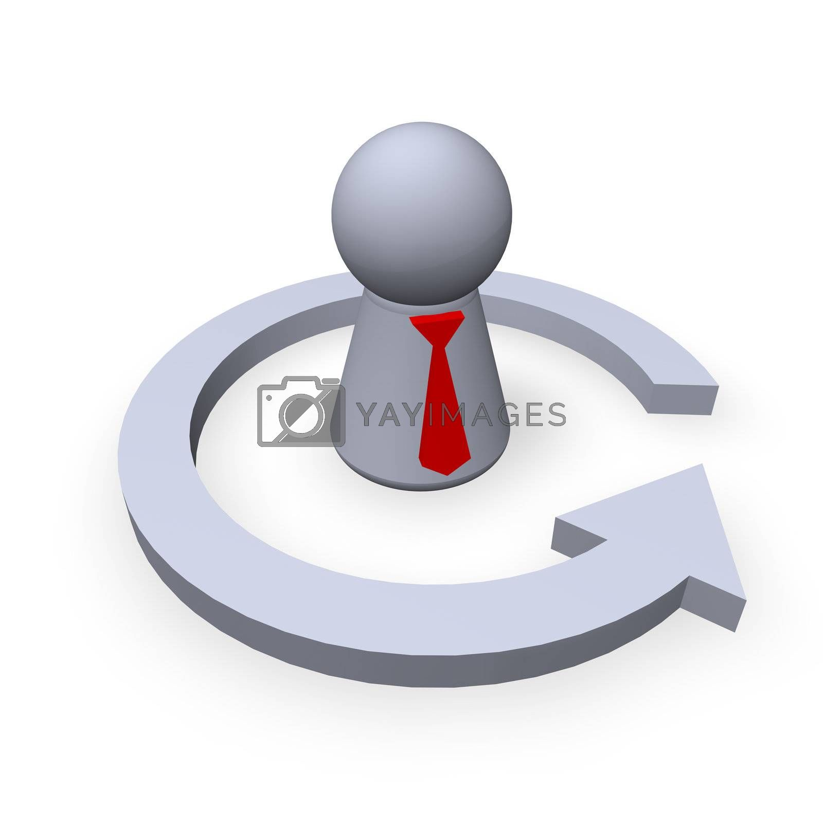 play figure with red tie and circle pointer