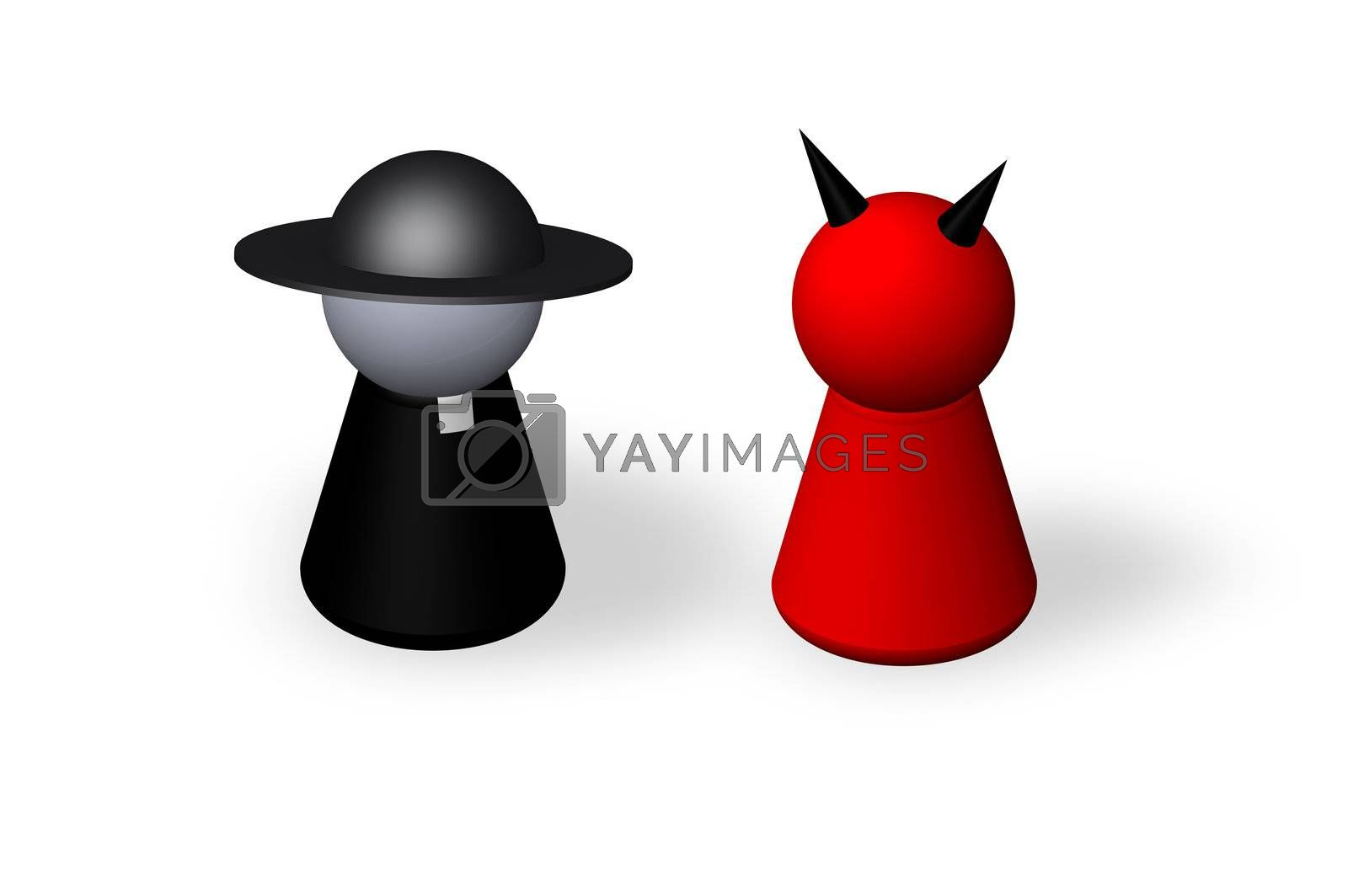 play figures holy man and devil