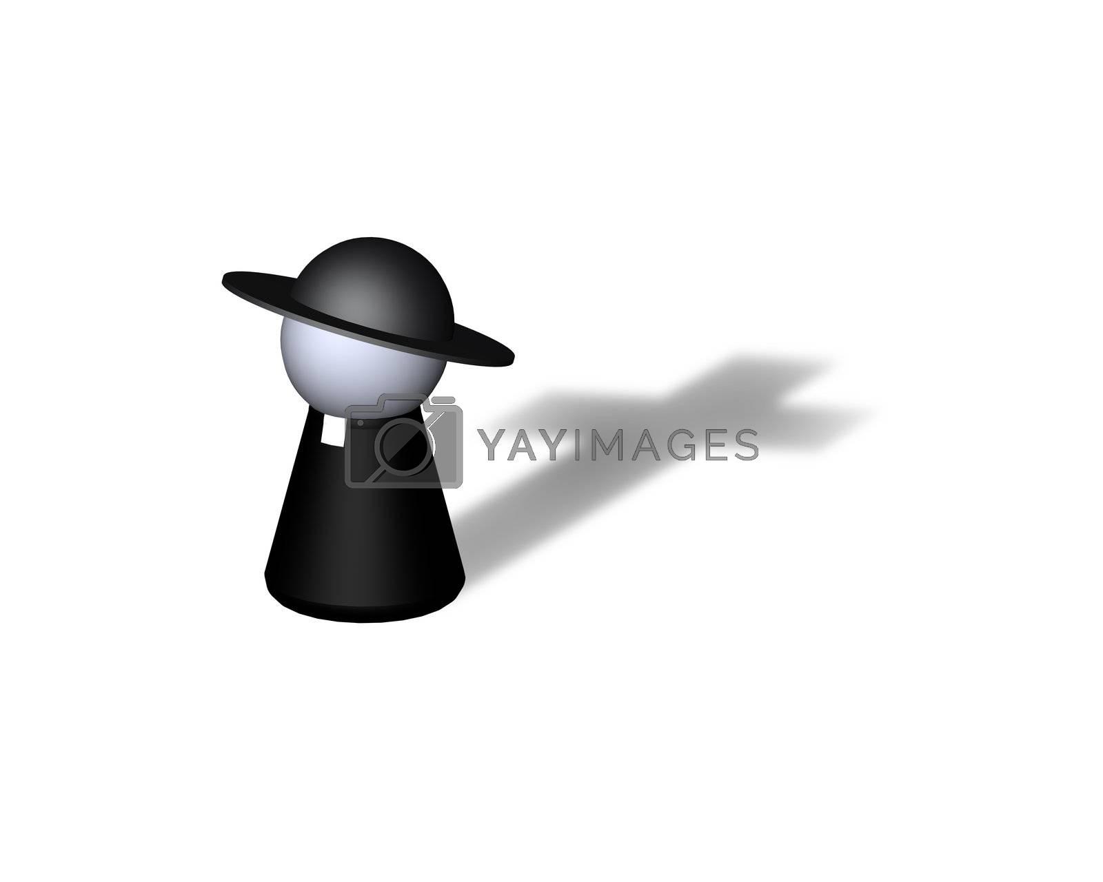 play figure holy man with cross shadow