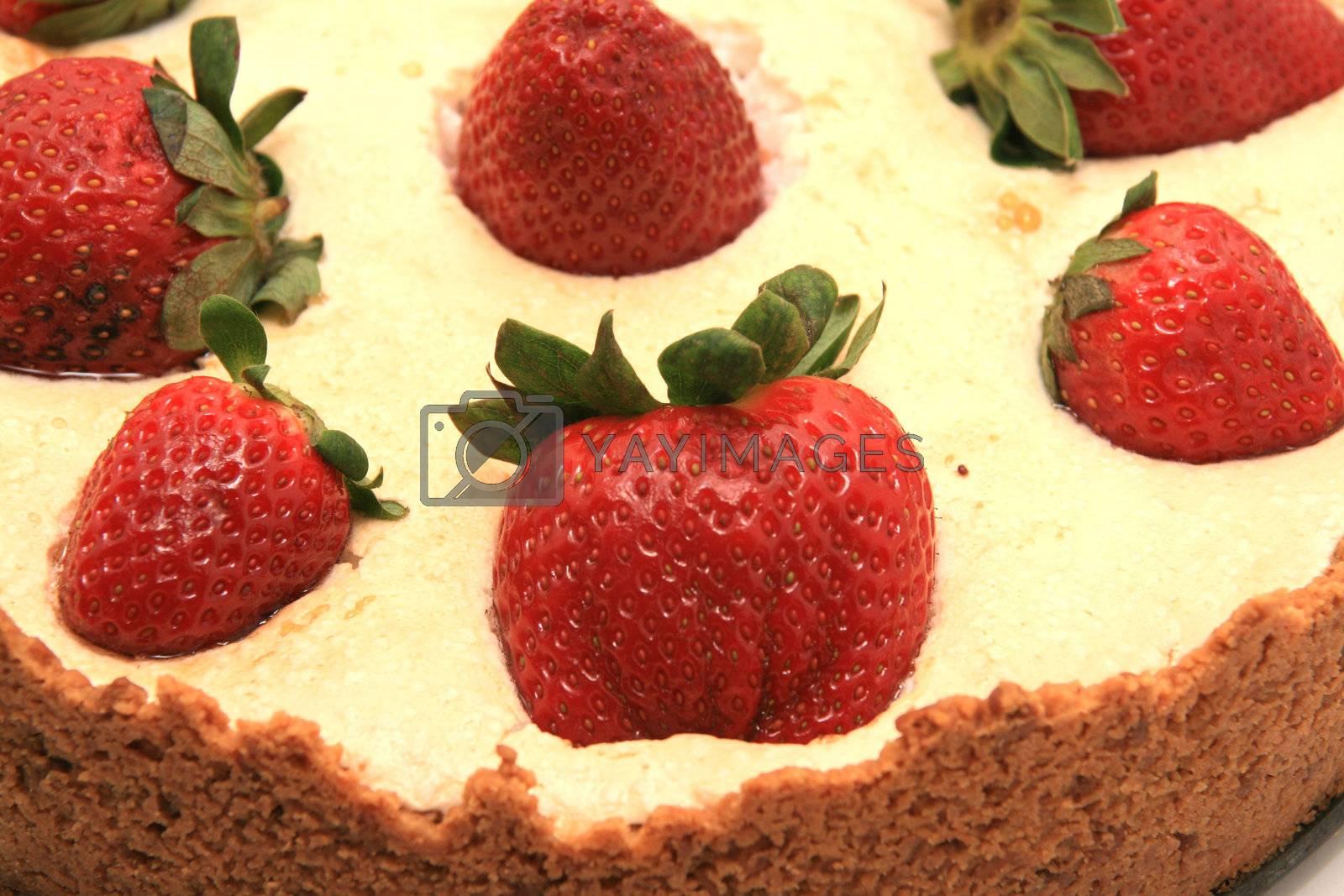 beautiful strawberries and chocolate cake