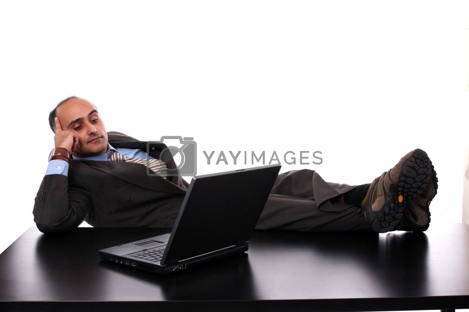 businessman working on laptop on office