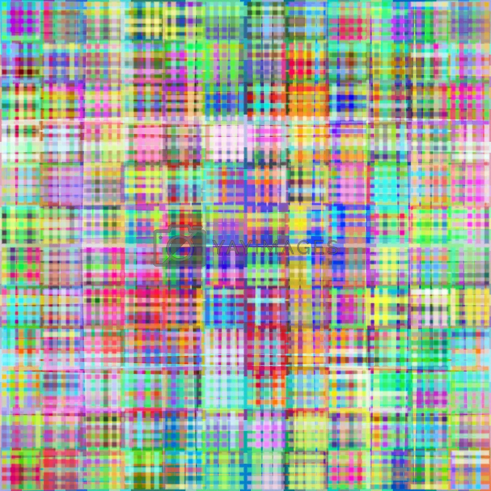 Pattern of blurred cubes in bright colors