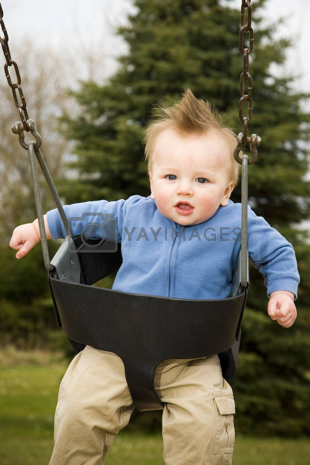 A portrait of a happy boy on a swing in a playground.