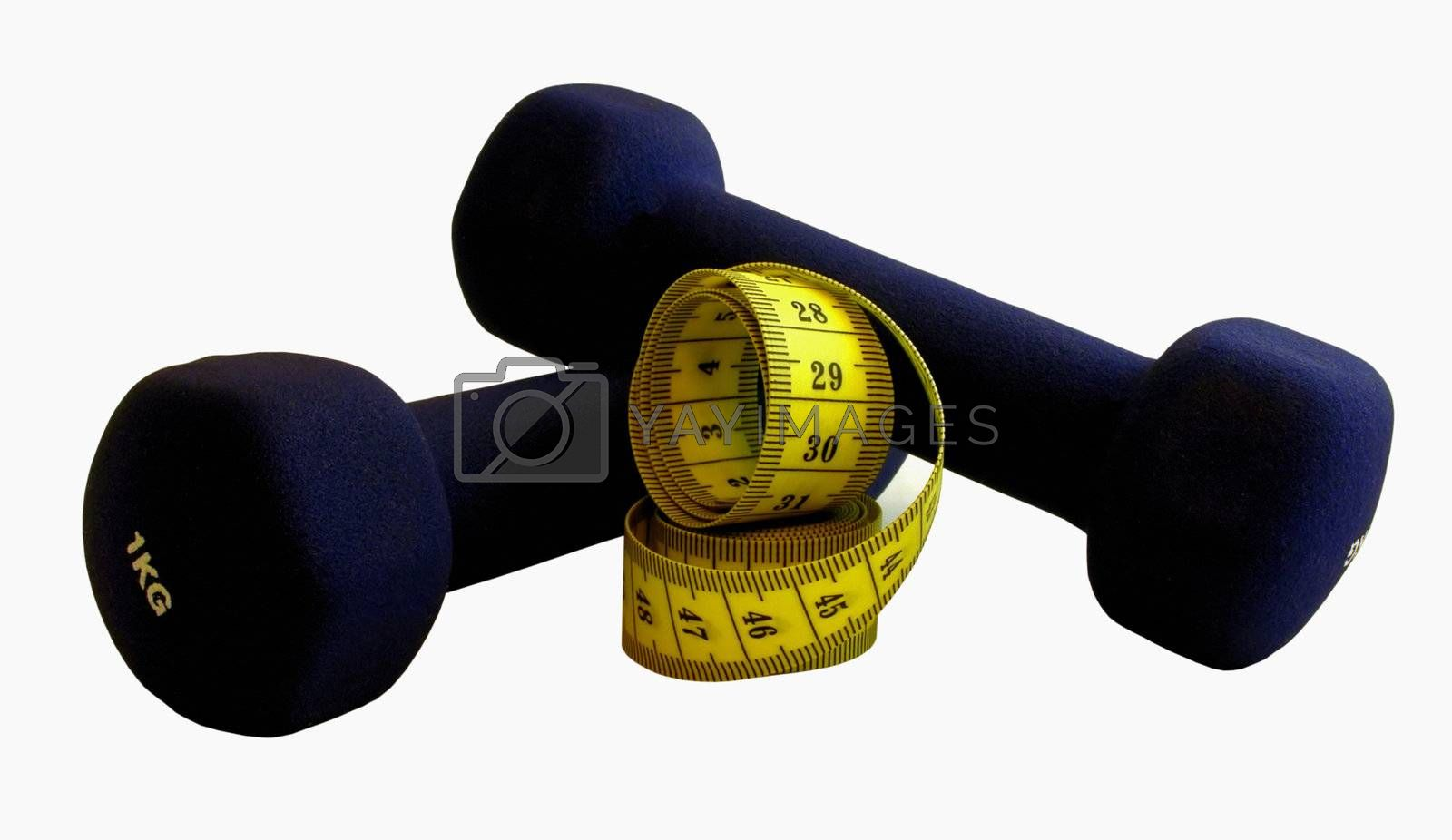 Two dumbbells with measuring tape isolated on white