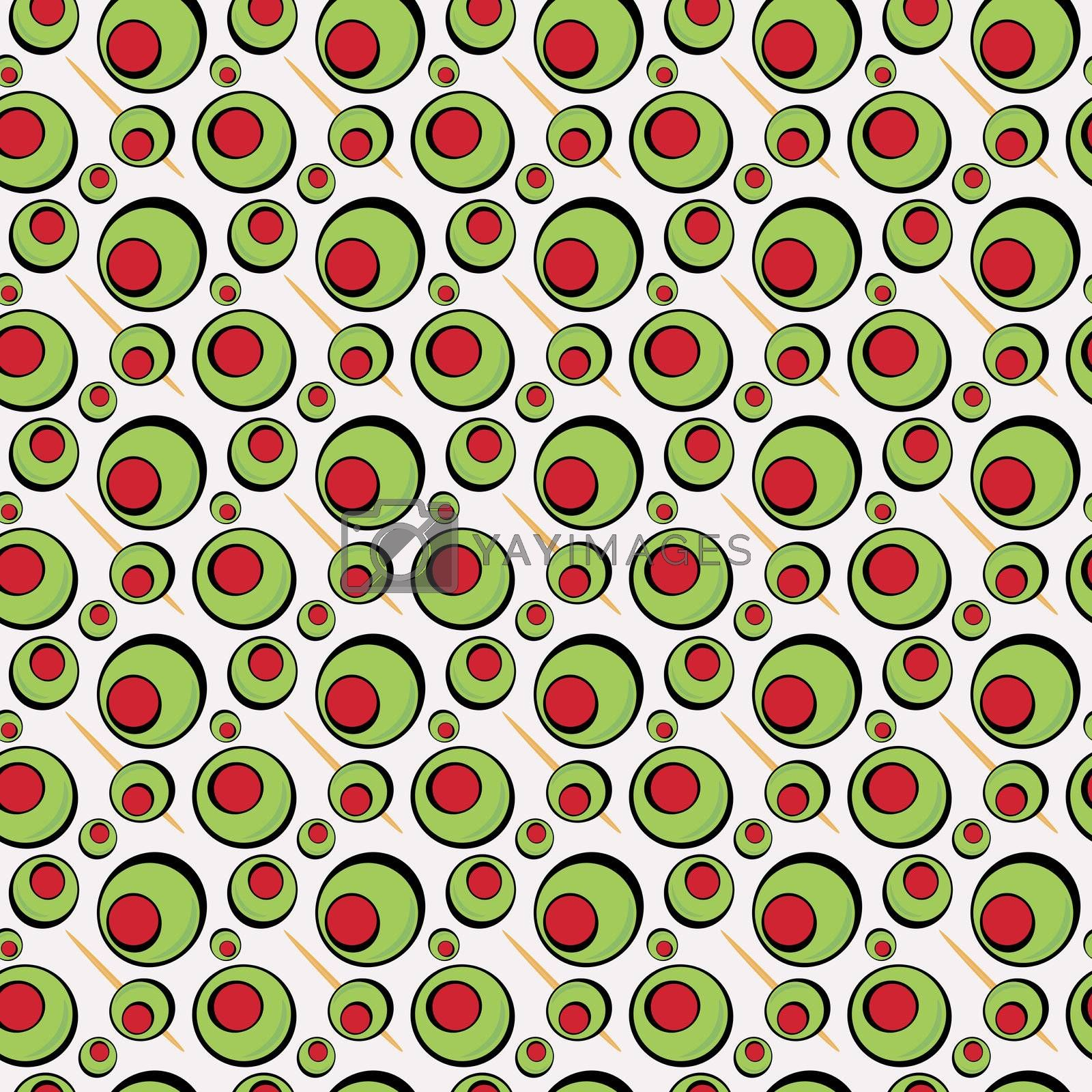 A green olives illustration that tiles seamlessly in a pattern in any direction.  Great for a martini graphic or restaurant drinks menu.
