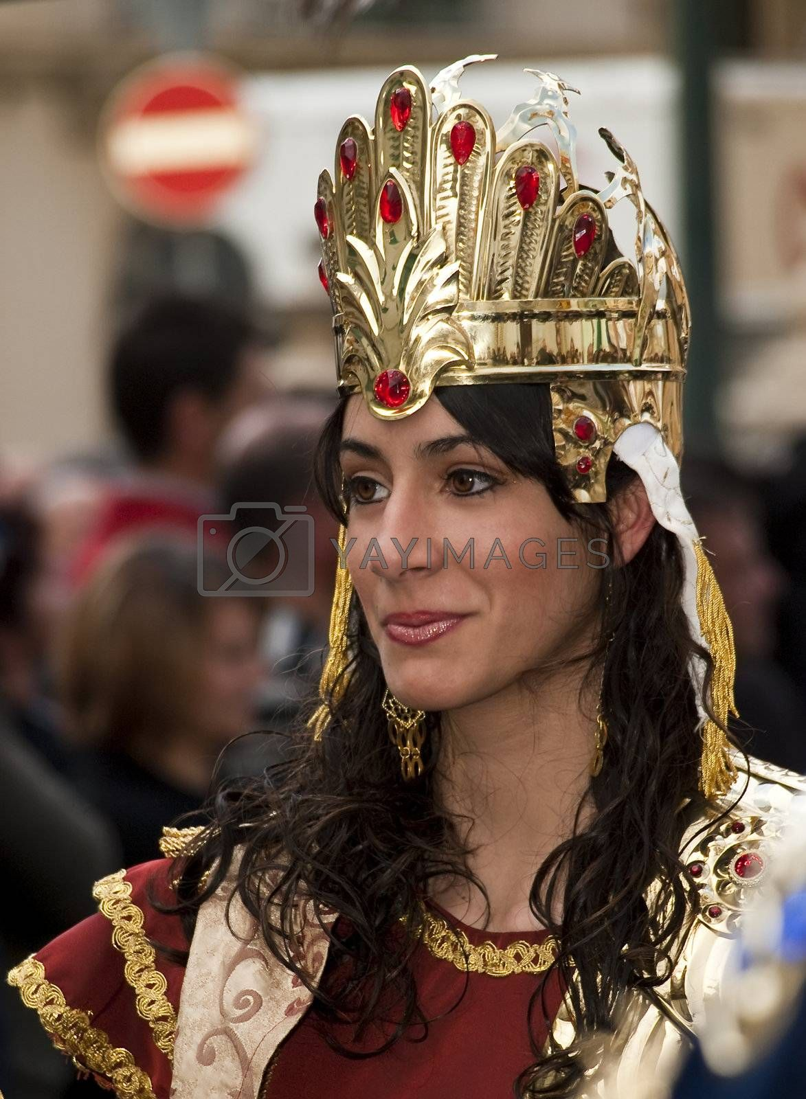 LUQA, MALTA - APR10 - Portrait of Persian Queen during the Good Friday procession in the village of Luqa in Malta April 10, 2009