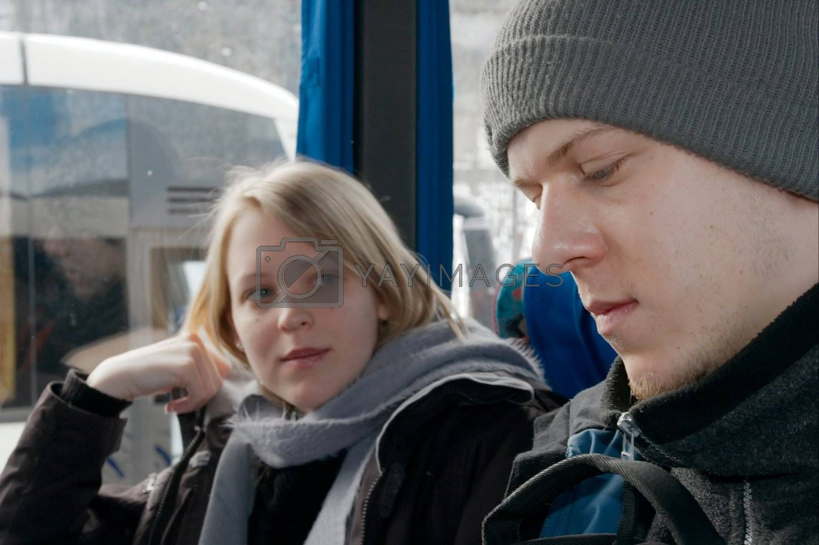 People sitting on a bus in winter