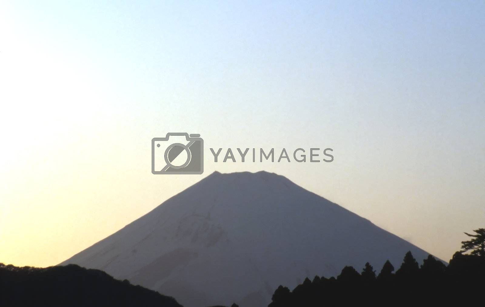 Mount Fuji, Japan in evening silhouette.