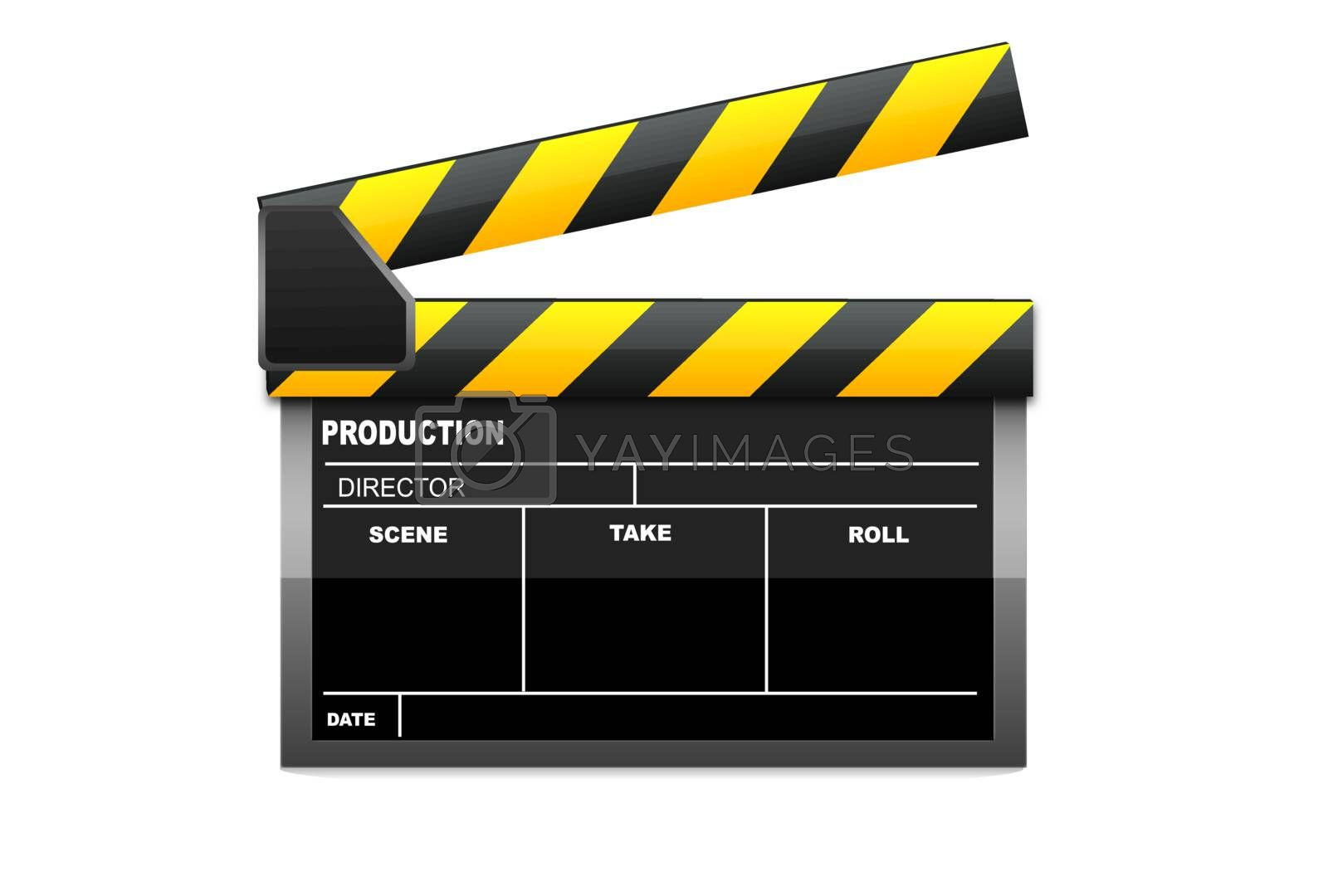 illustration of vector clapboard on an isolated background