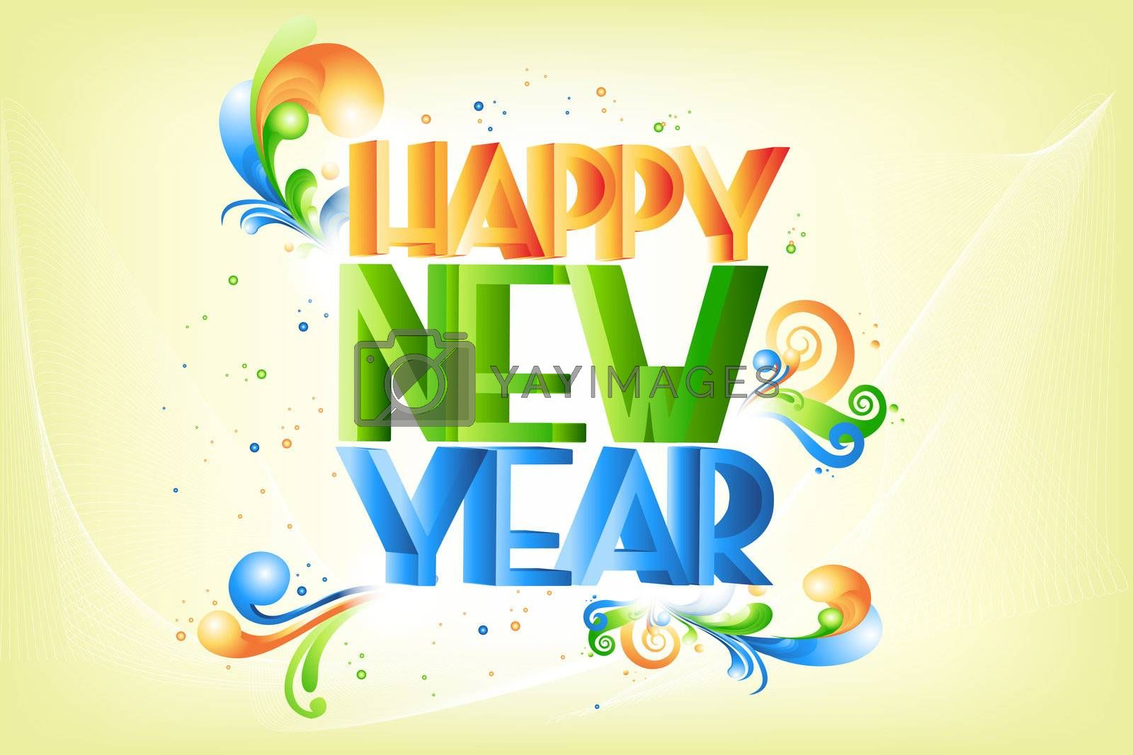 illustration of swirly and colorful new year text on abstract background
