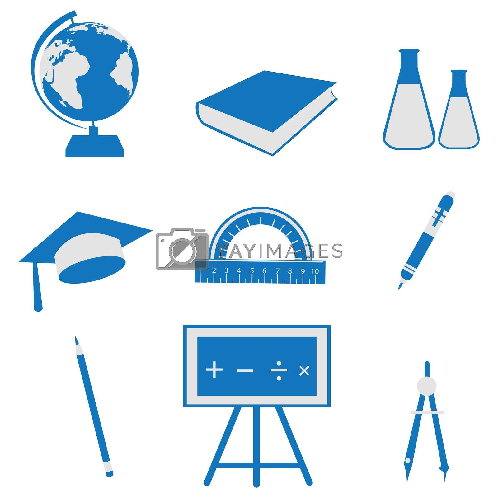 illustration of set of education icon on isolated background