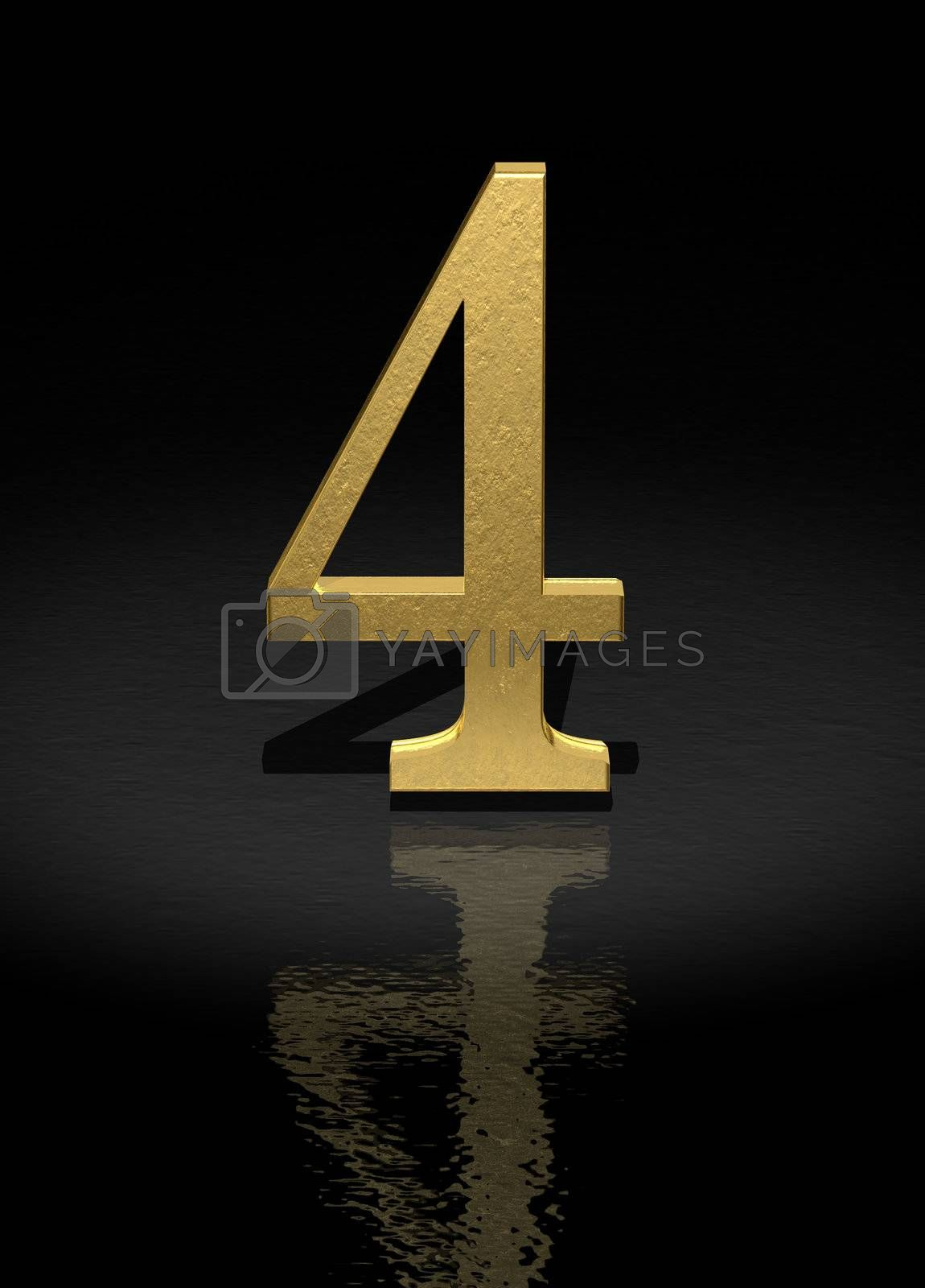 4 Gold Number on black background - 3d image