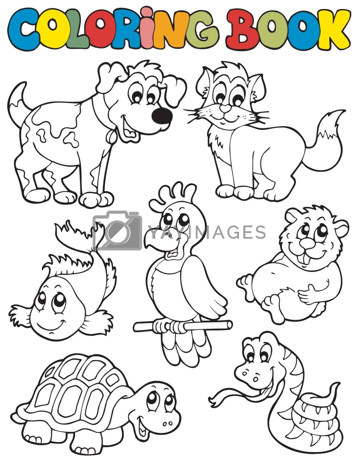 Coloring book with pets 2 - vector illustration.