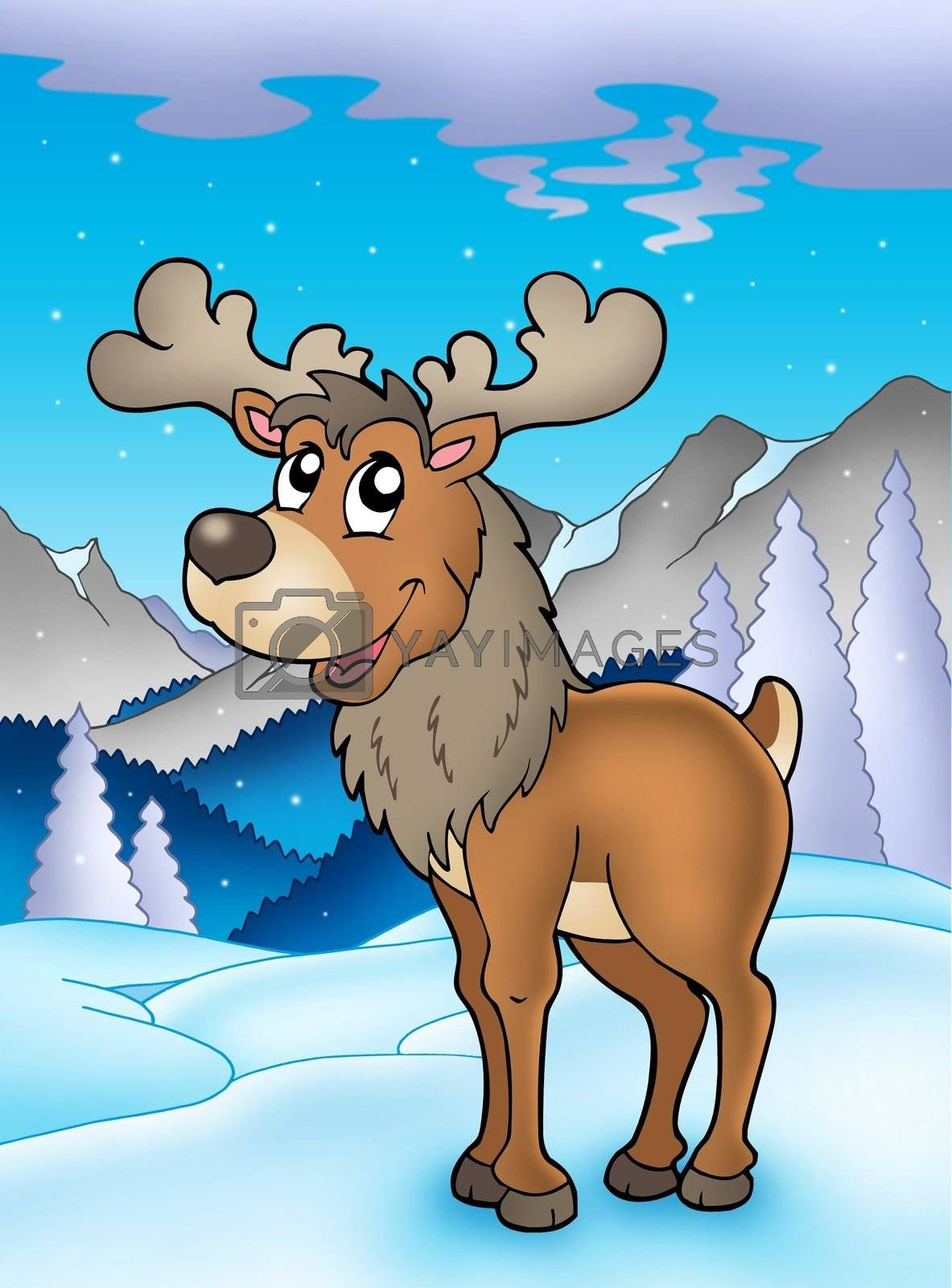 Winter theme with reindeer - color illustration.