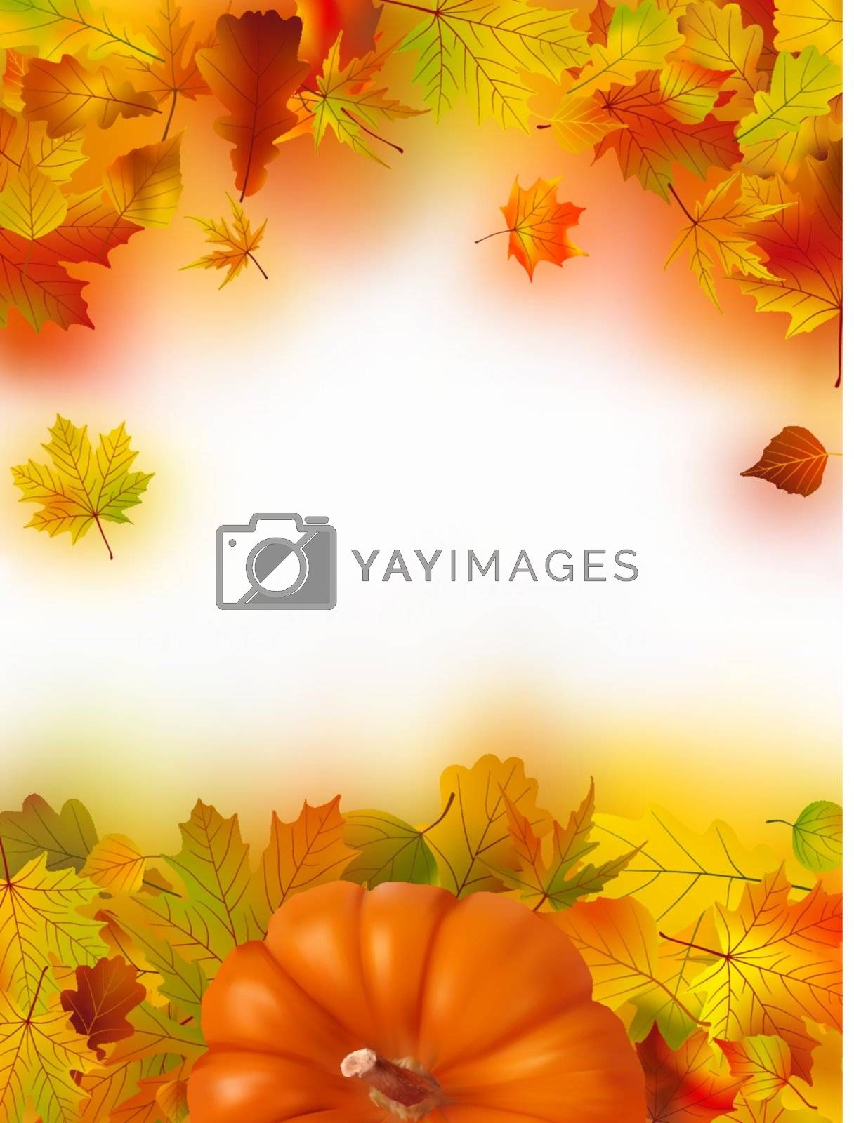 Image and Illustration composition for Thanksgiving invitation border or background with copy space.