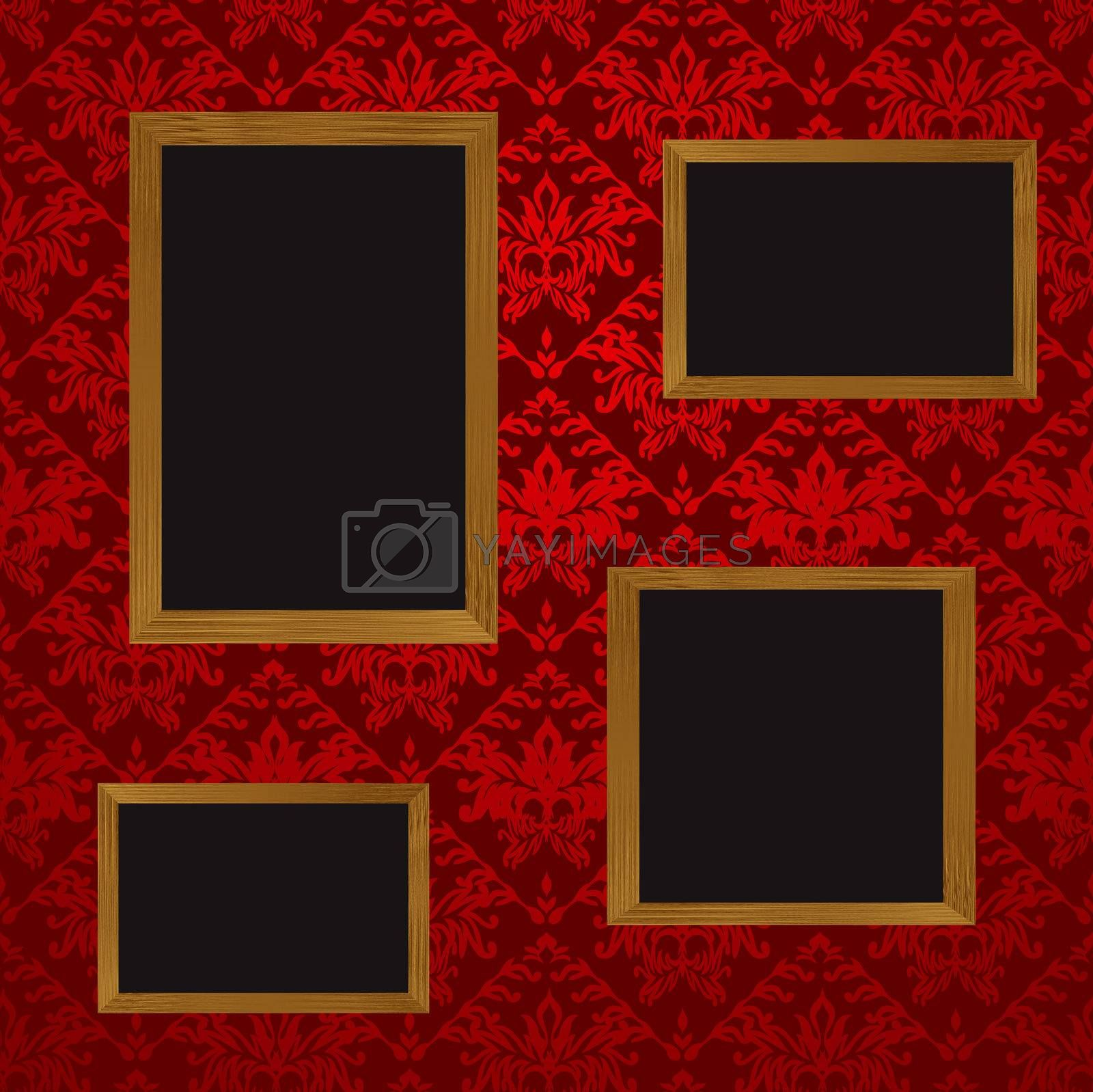 Four wooden picture frames with blank space for your own picture and red wallpaper design